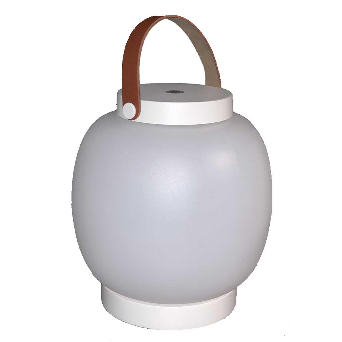 COLLY-Lanterne sans fil anse en cuir marron H22cm