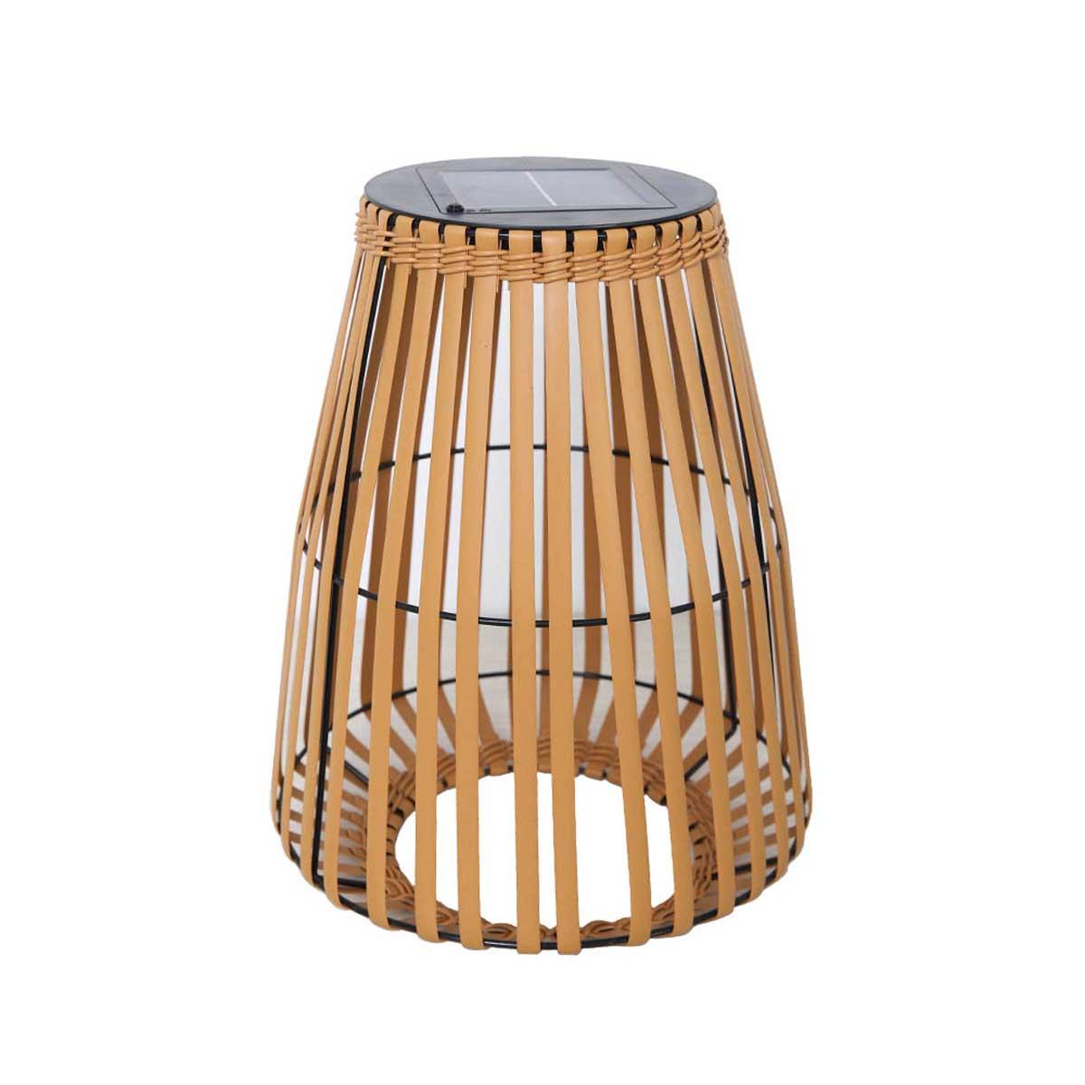 Lanterne solaire décorative polyrotin marron H43cm