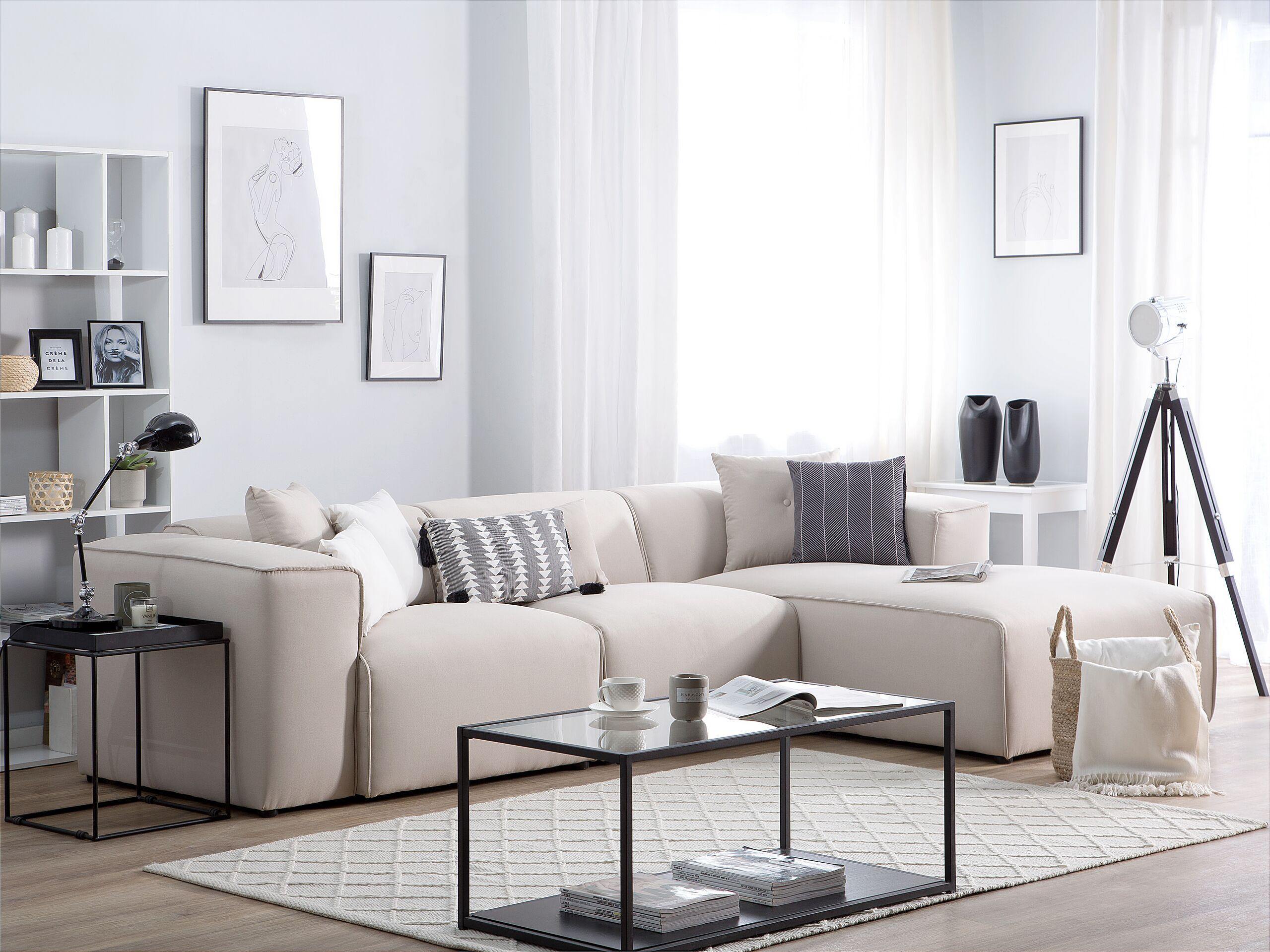 Canapé angle à gauche en tissu beige 3 places