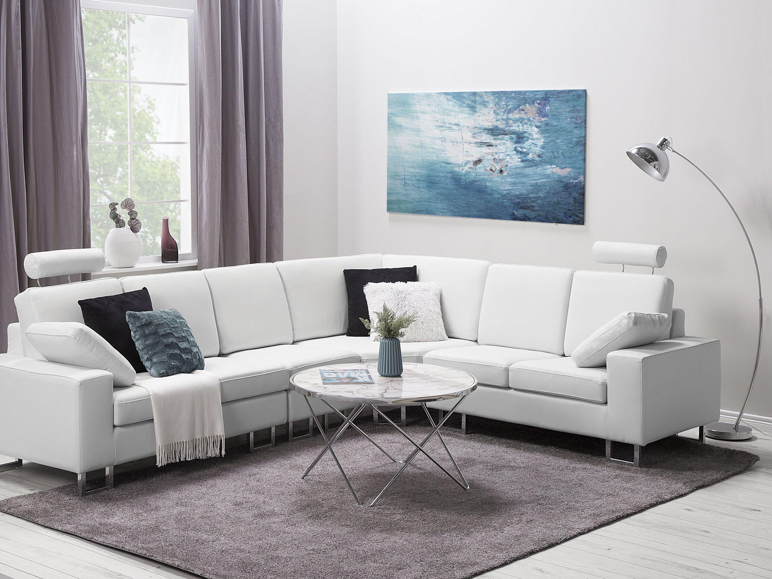 Canapé angle à gauche 6 places en cuir blanc