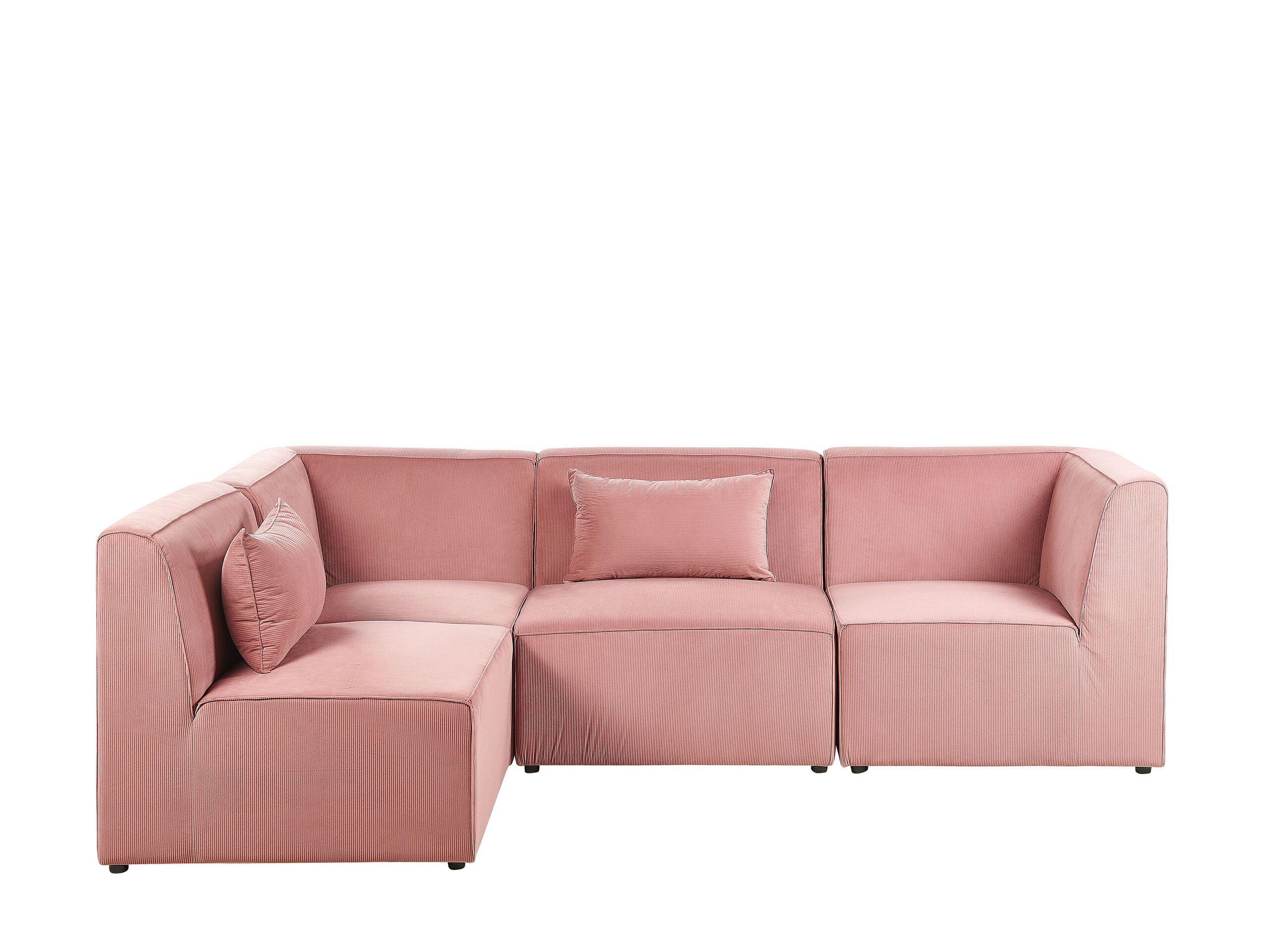 Canapé d'angle 4 places Rose Velours Moderne Confort