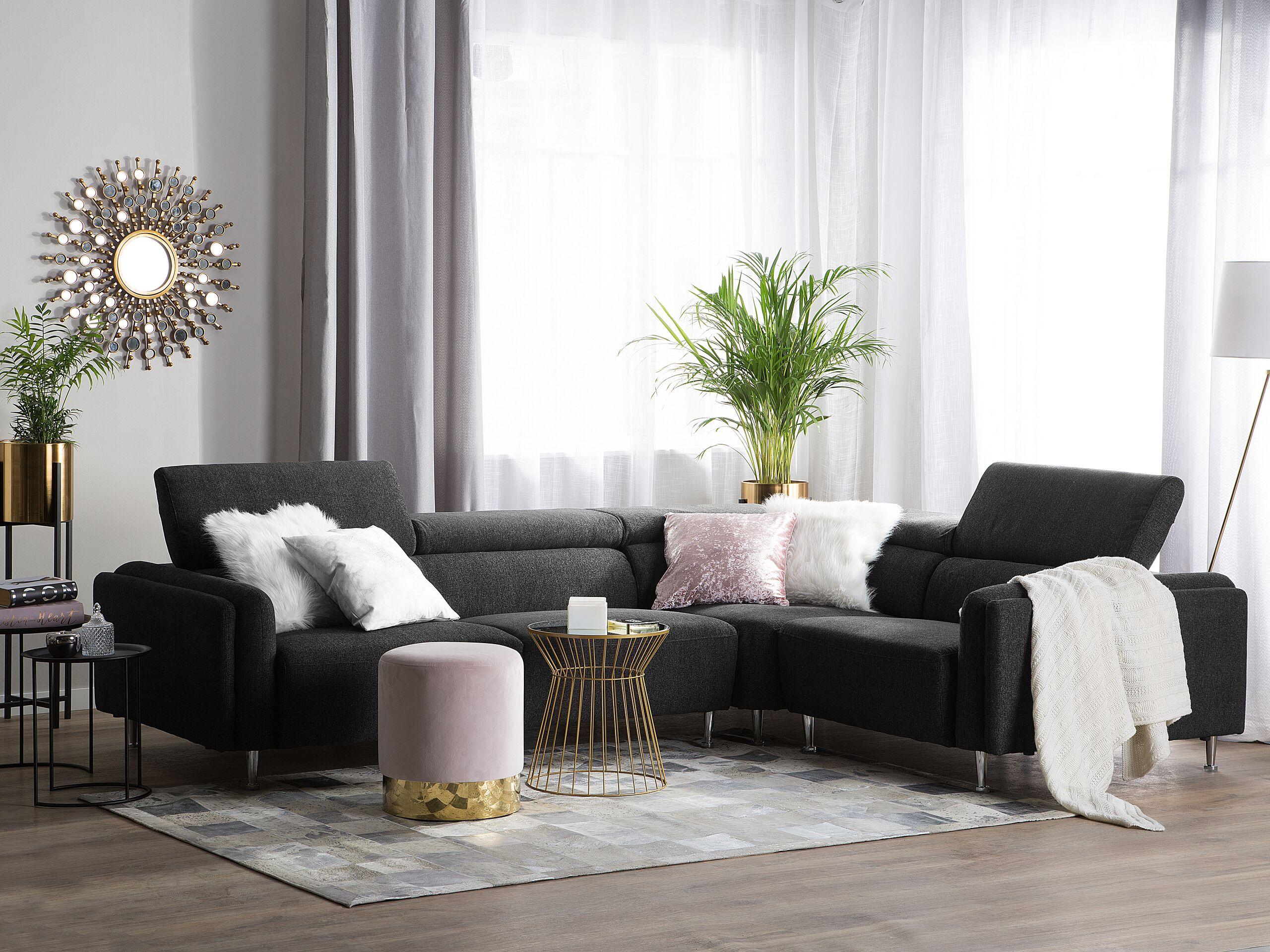 Canapé angle côté gauche en tissu gris foncé 5 places