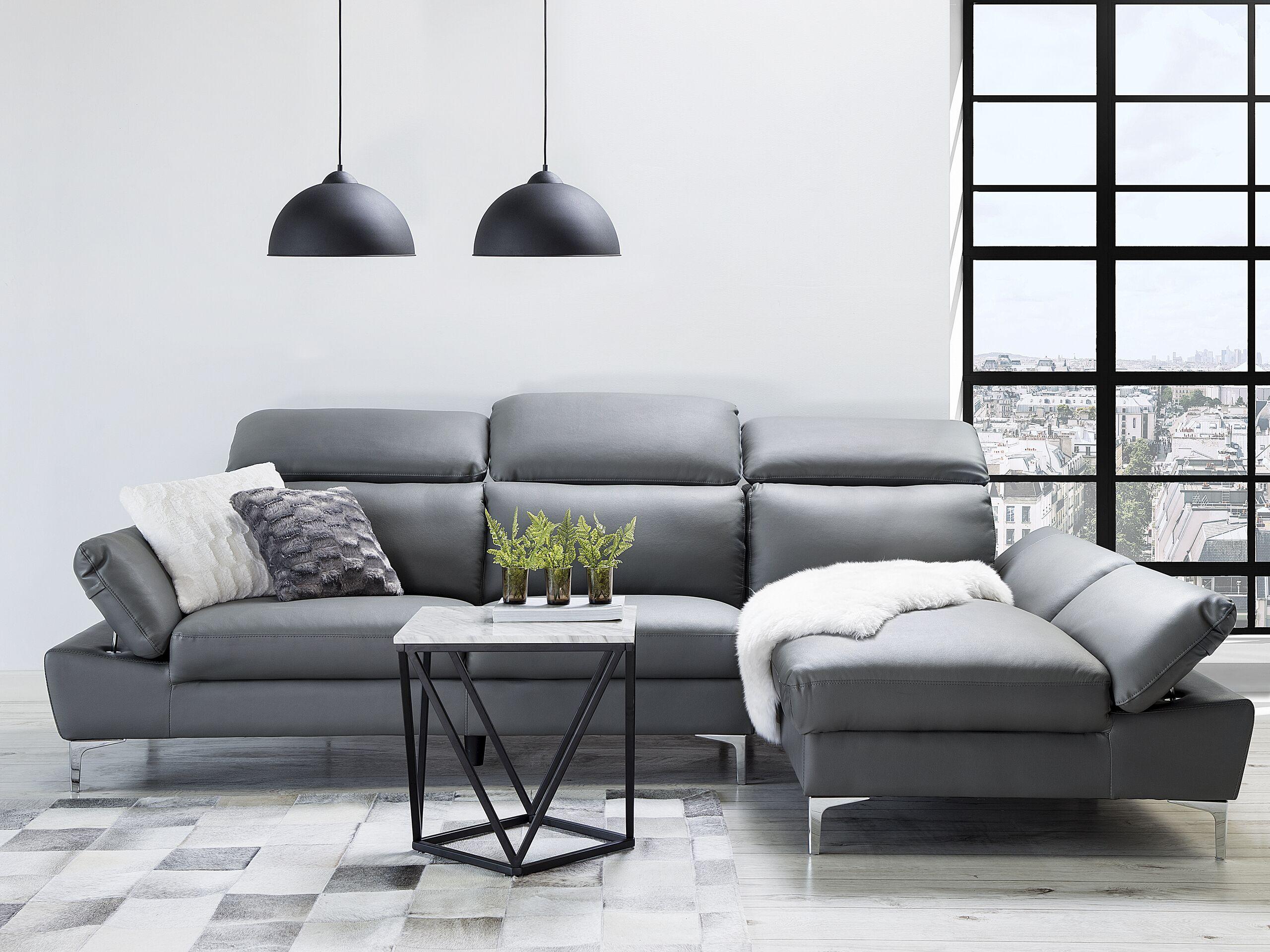 Canapé angle à gauche 4 places en cuir gris