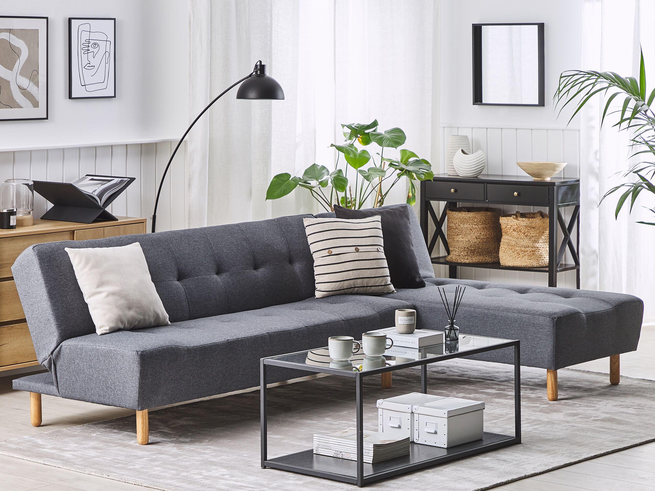 Canapé angle à gauche convertible en tissu gris foncé 4 places