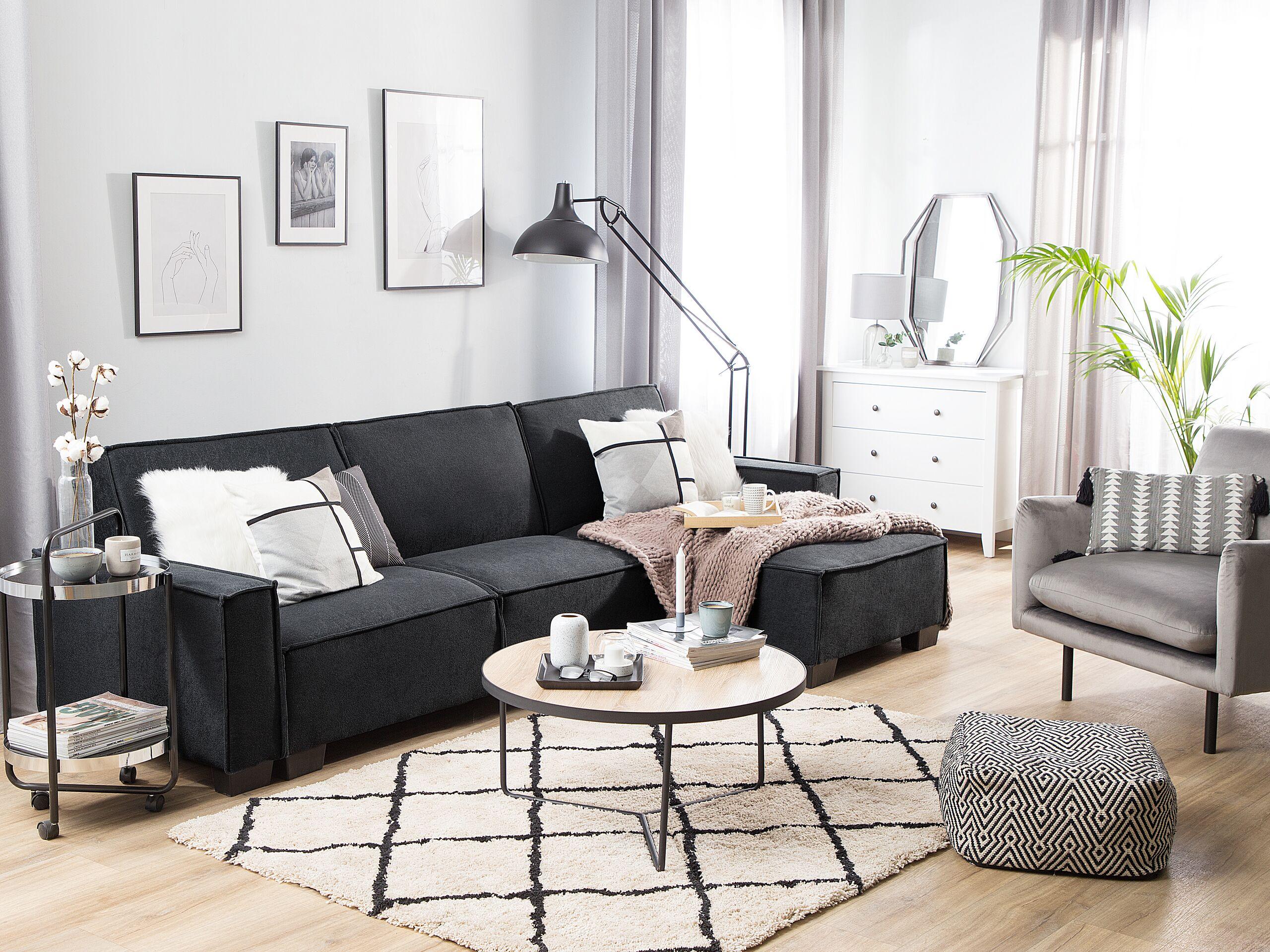 Canapé angle à gauche 3 places convertible en tissu gris graphite
