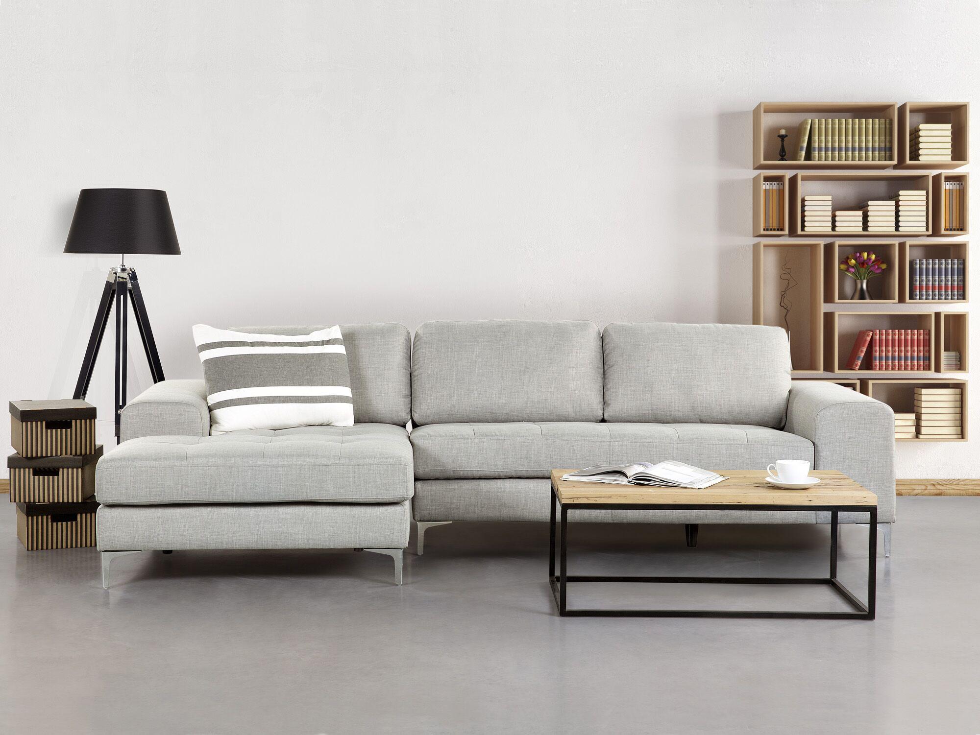 Canapé angle à droite en tissu gris clair 4 places