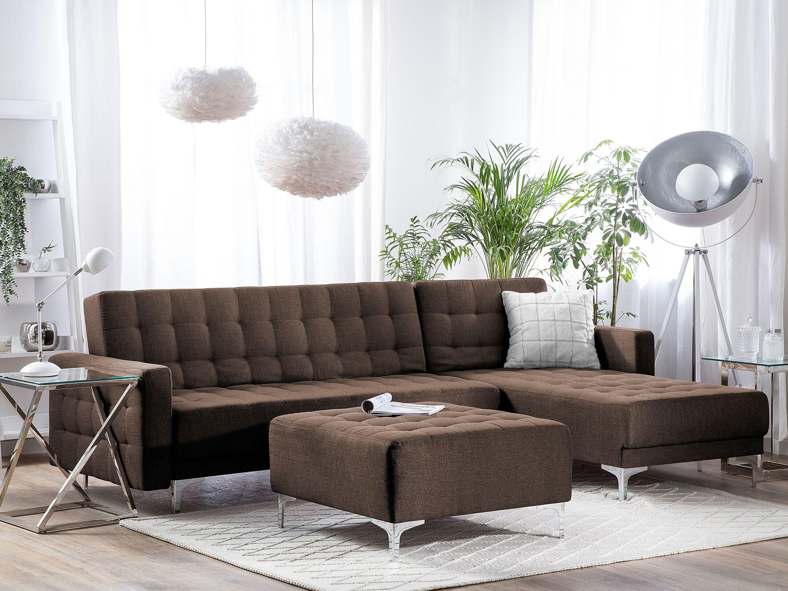 Canapé angle à gauche en tissu marron foncé avec pouf ottoman