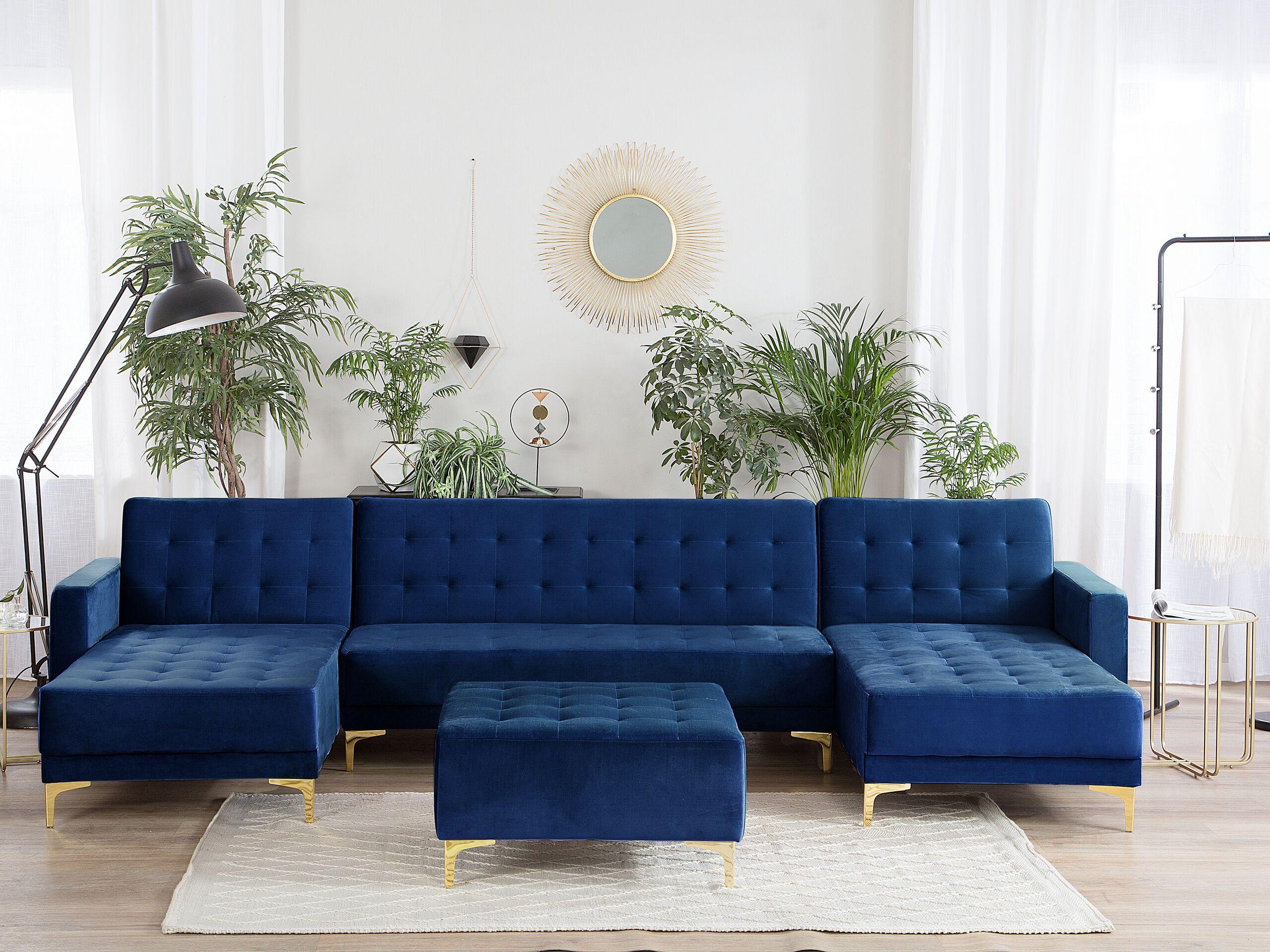 Canapé en forme de U convertible en velours bleu marine avec ottoman