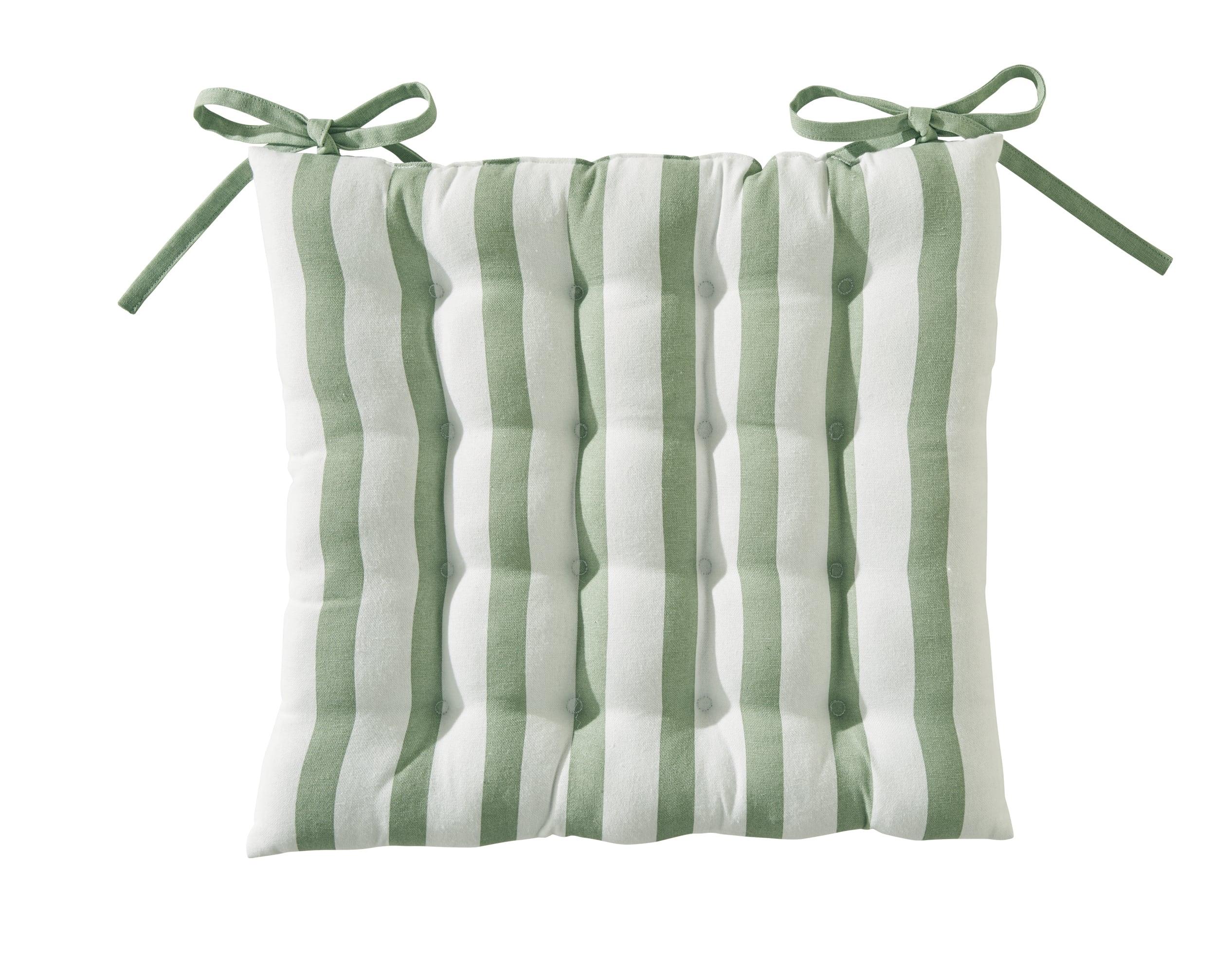 Galette de chaise réversible vert 40x40 en coton