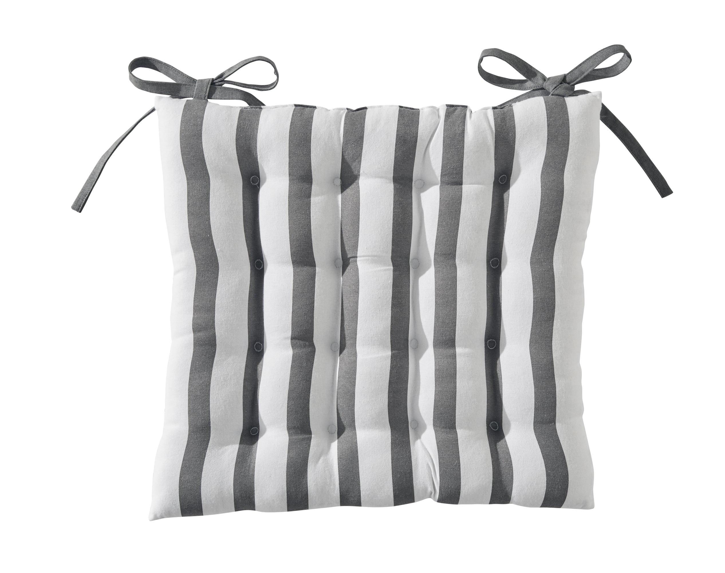Galette de chaise réversible gris anthracite 40x40 en coton