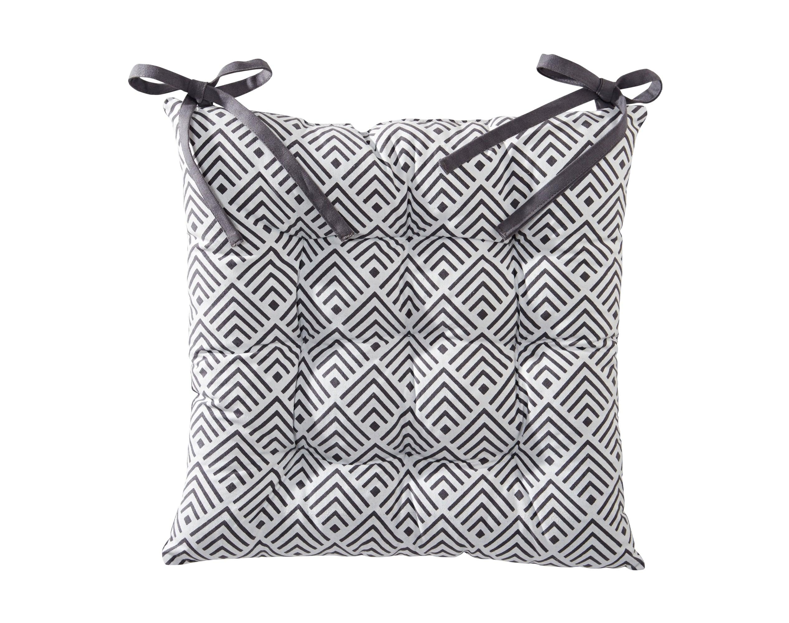 Galette de chaise réversible gris 40x40 en coton