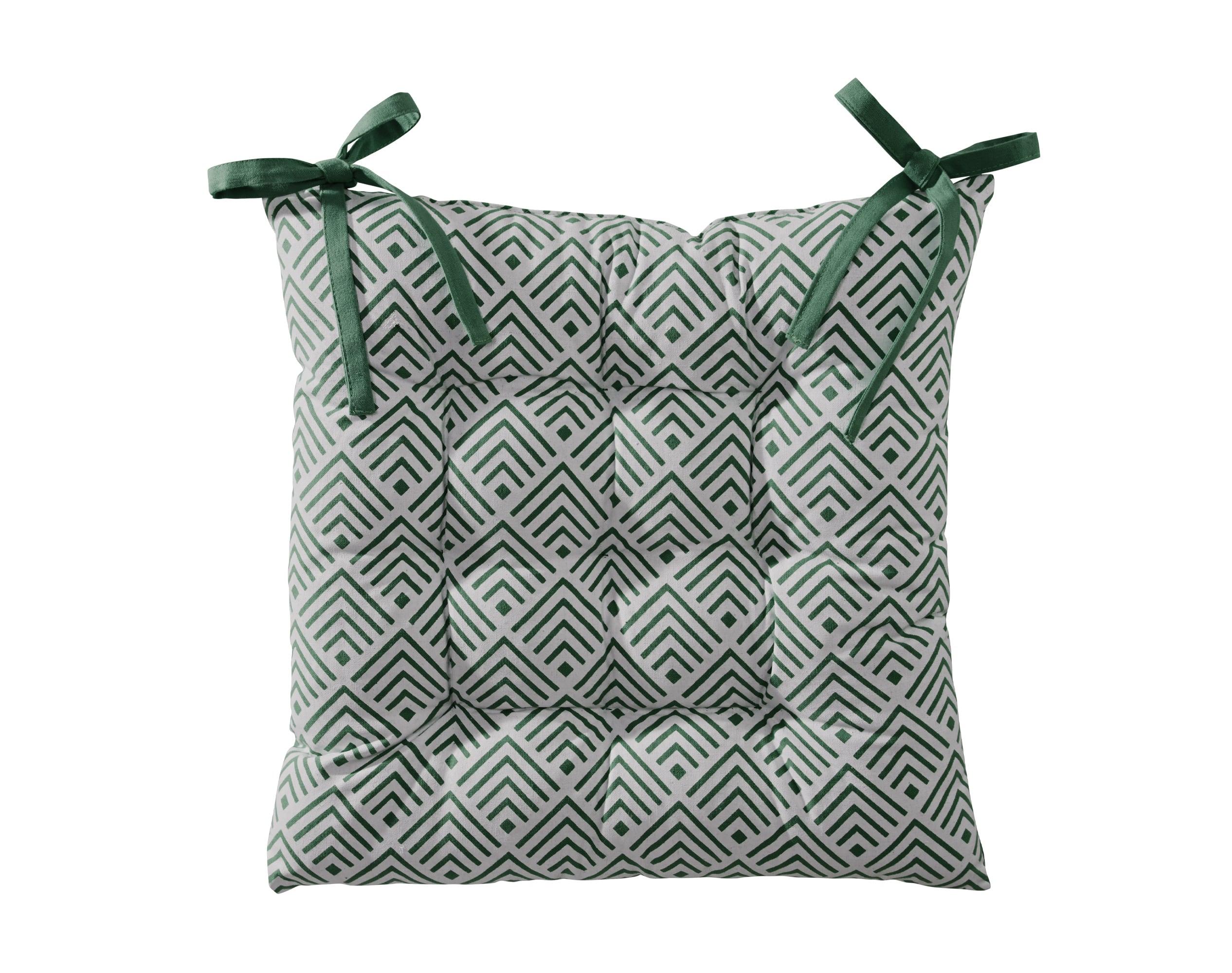 Galette de chaise réversible vert eucalyptus 40x40 en coton