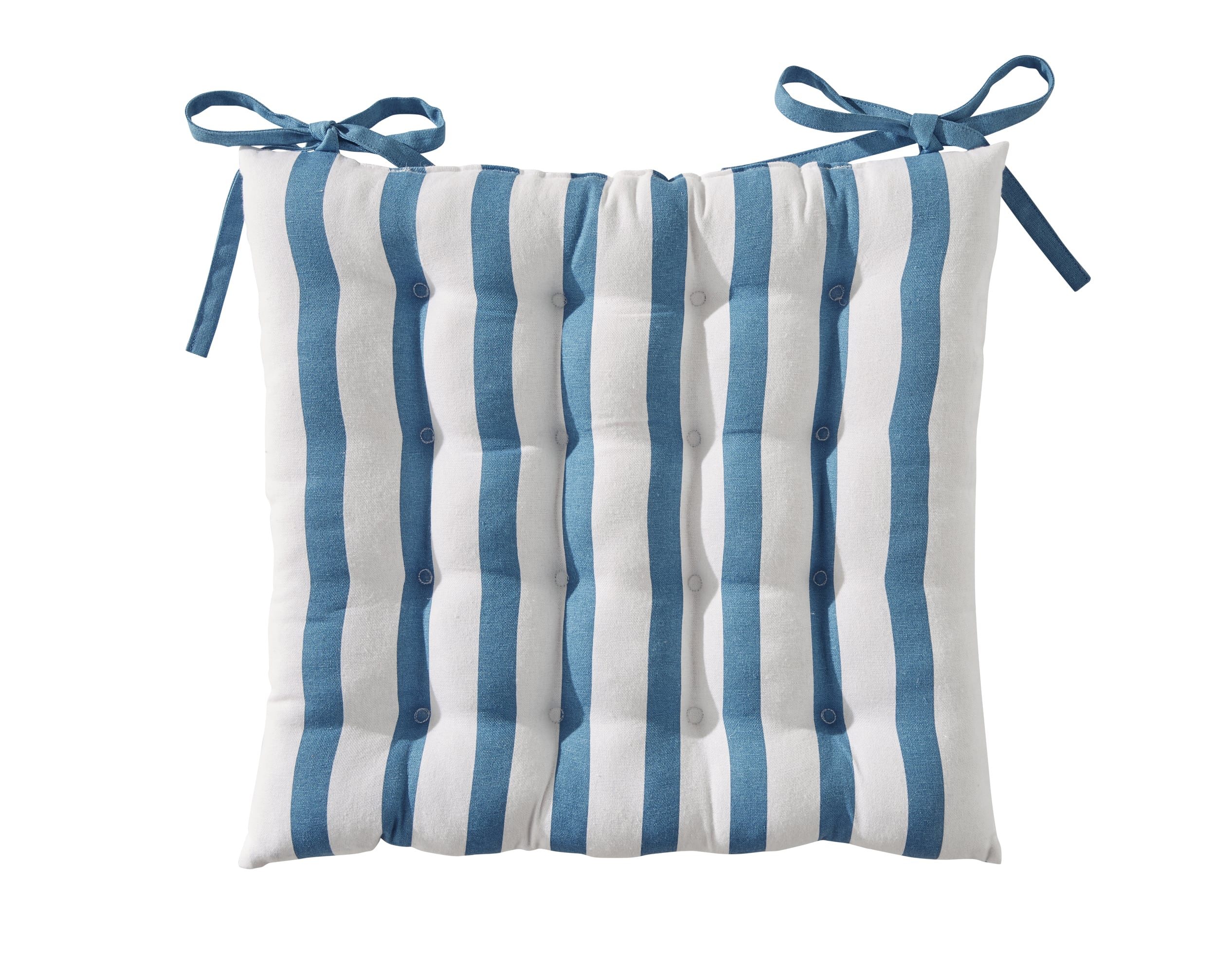 Galette de chaise réversible bleu orage 40x40 en coton