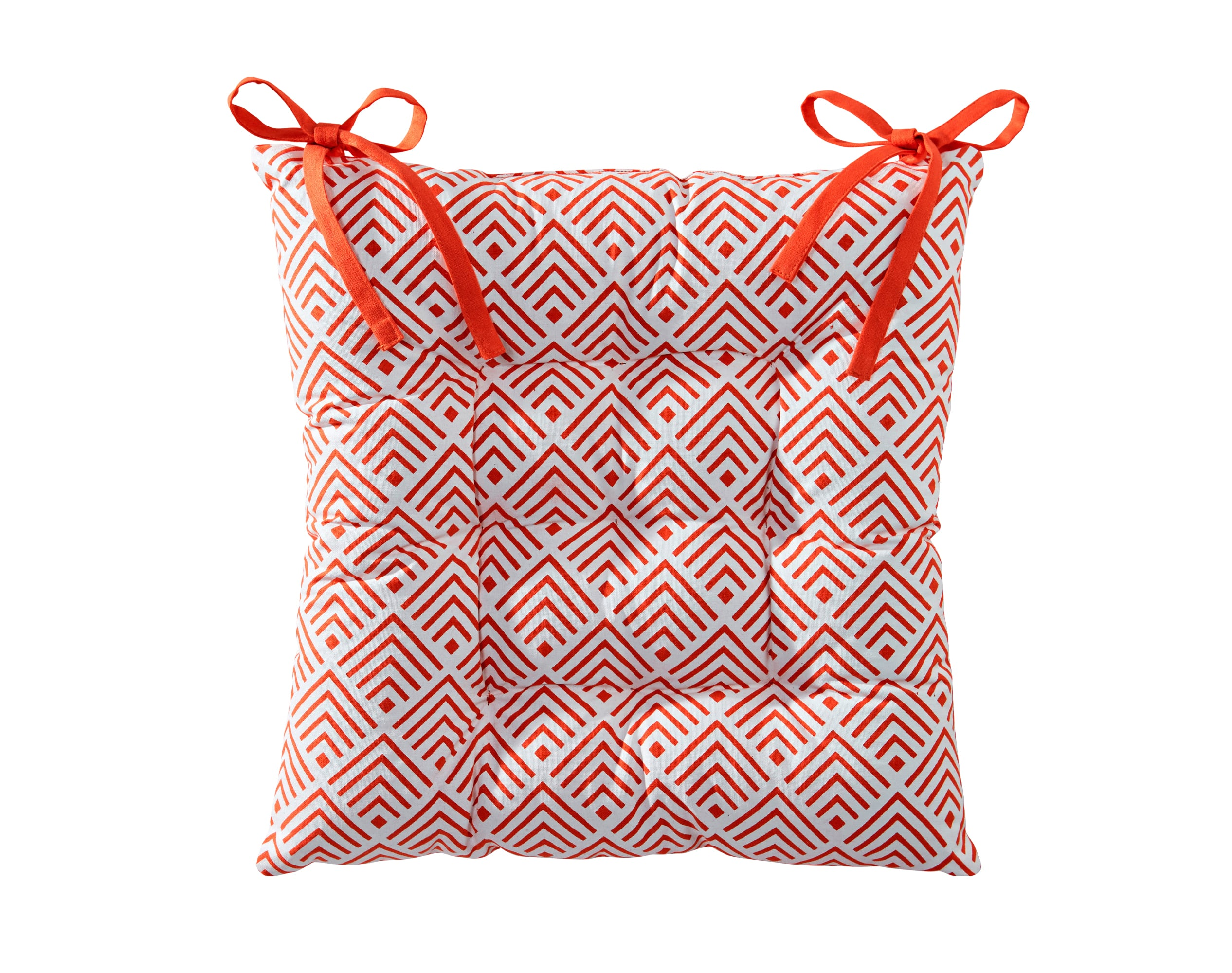 Galette de chaise réversible orange paprika 40x40 en coton