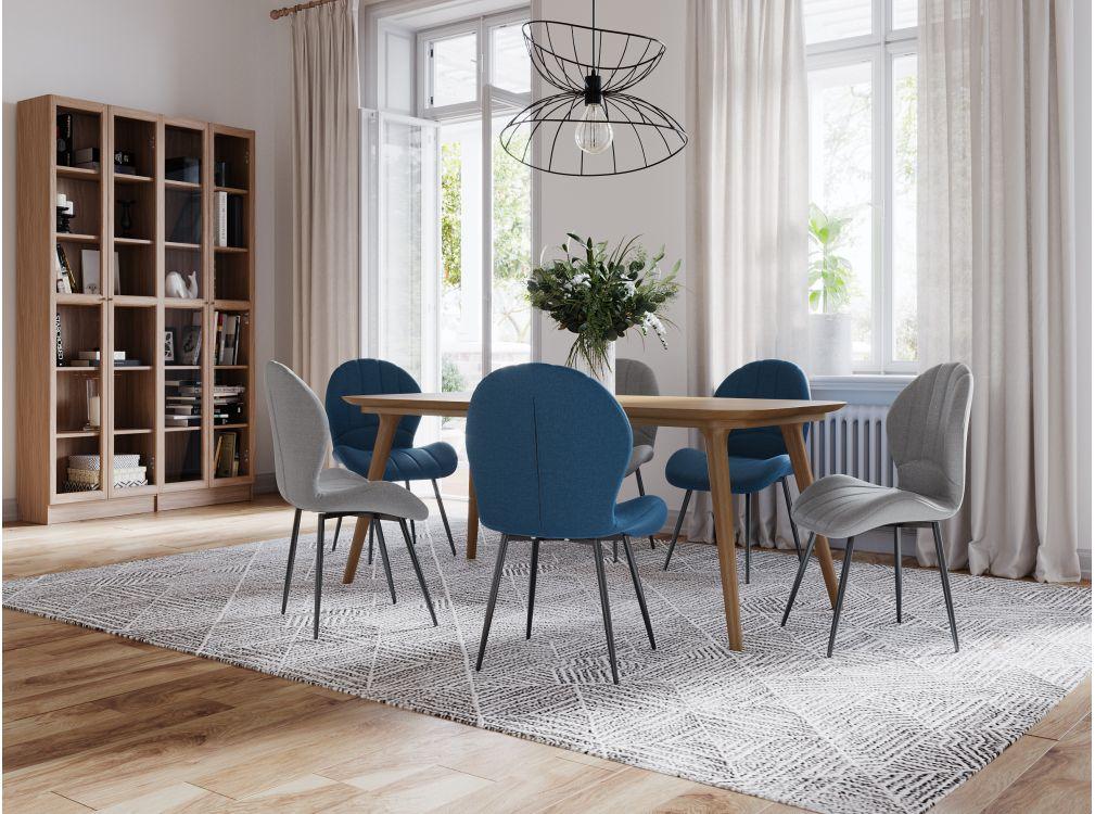 Lot de 2 chaises design grises avec piétement en métal
