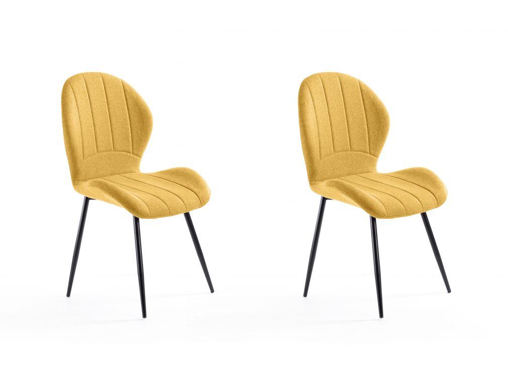 Lot de 2 chaises design jaunes avec piétement en métal
