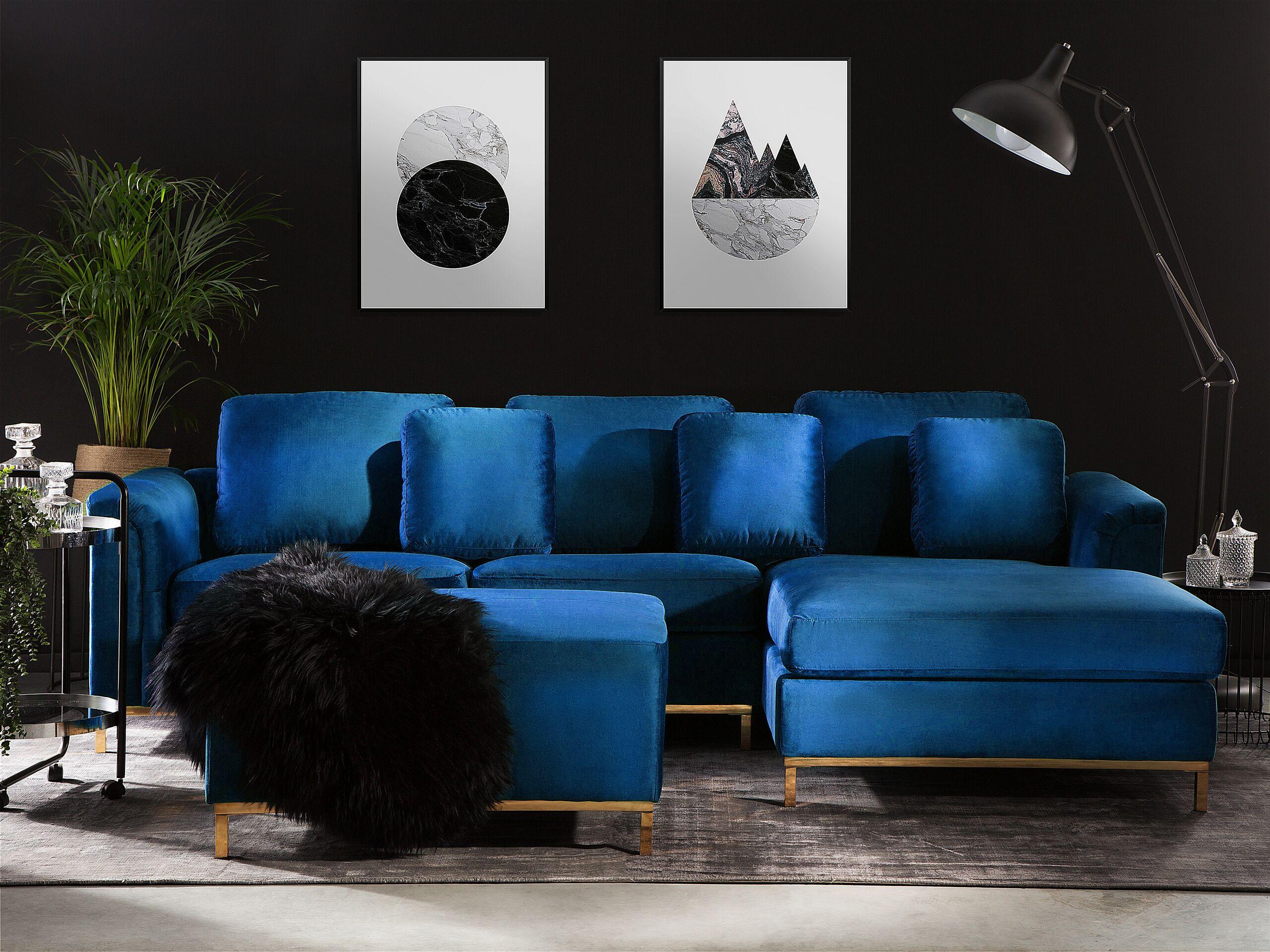 Canapé angle à gauche en velours bleu foncé 4 places avec pouf