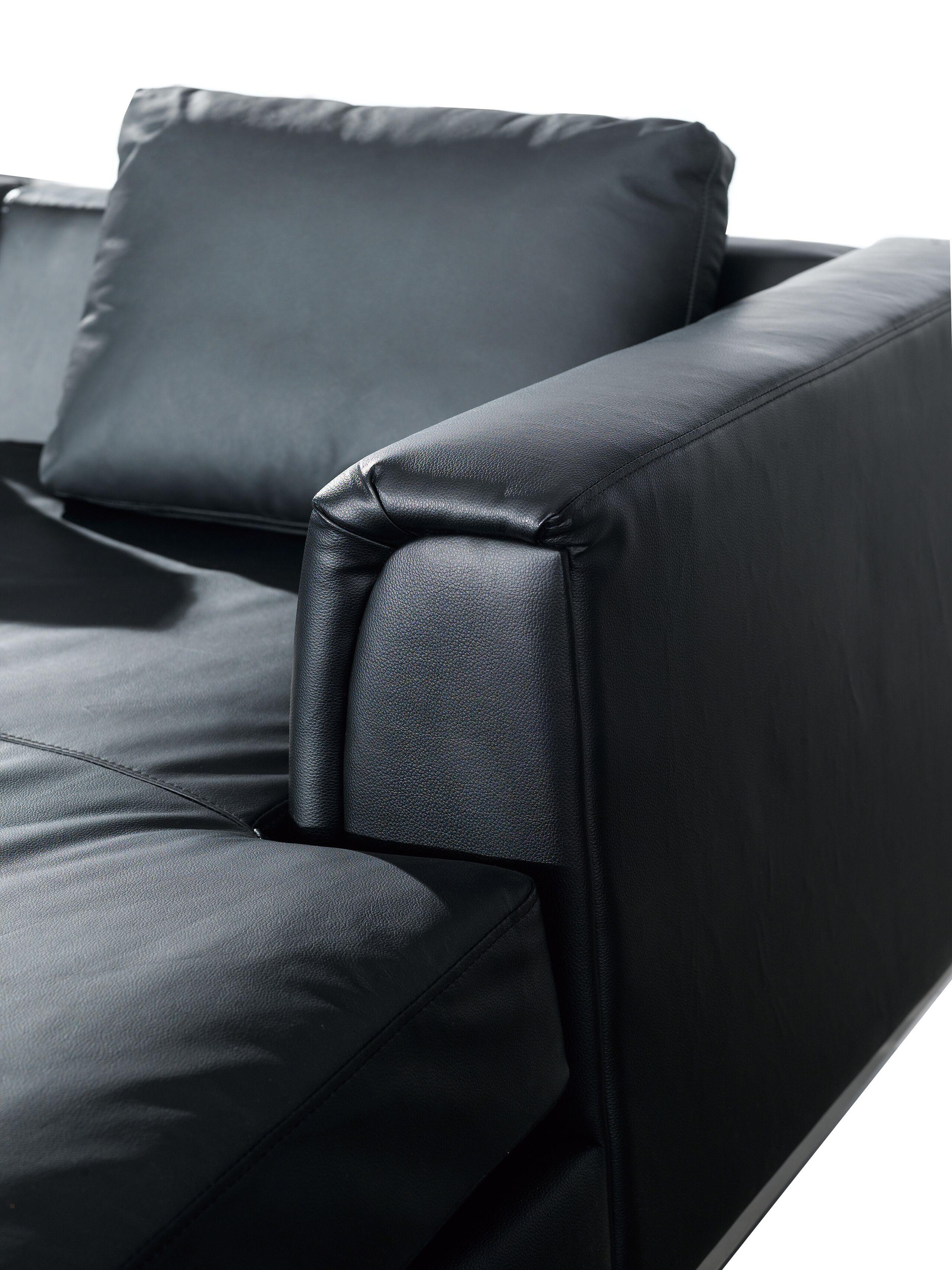 Canapé angle à gauche 4 places en cuir noir avec pouf