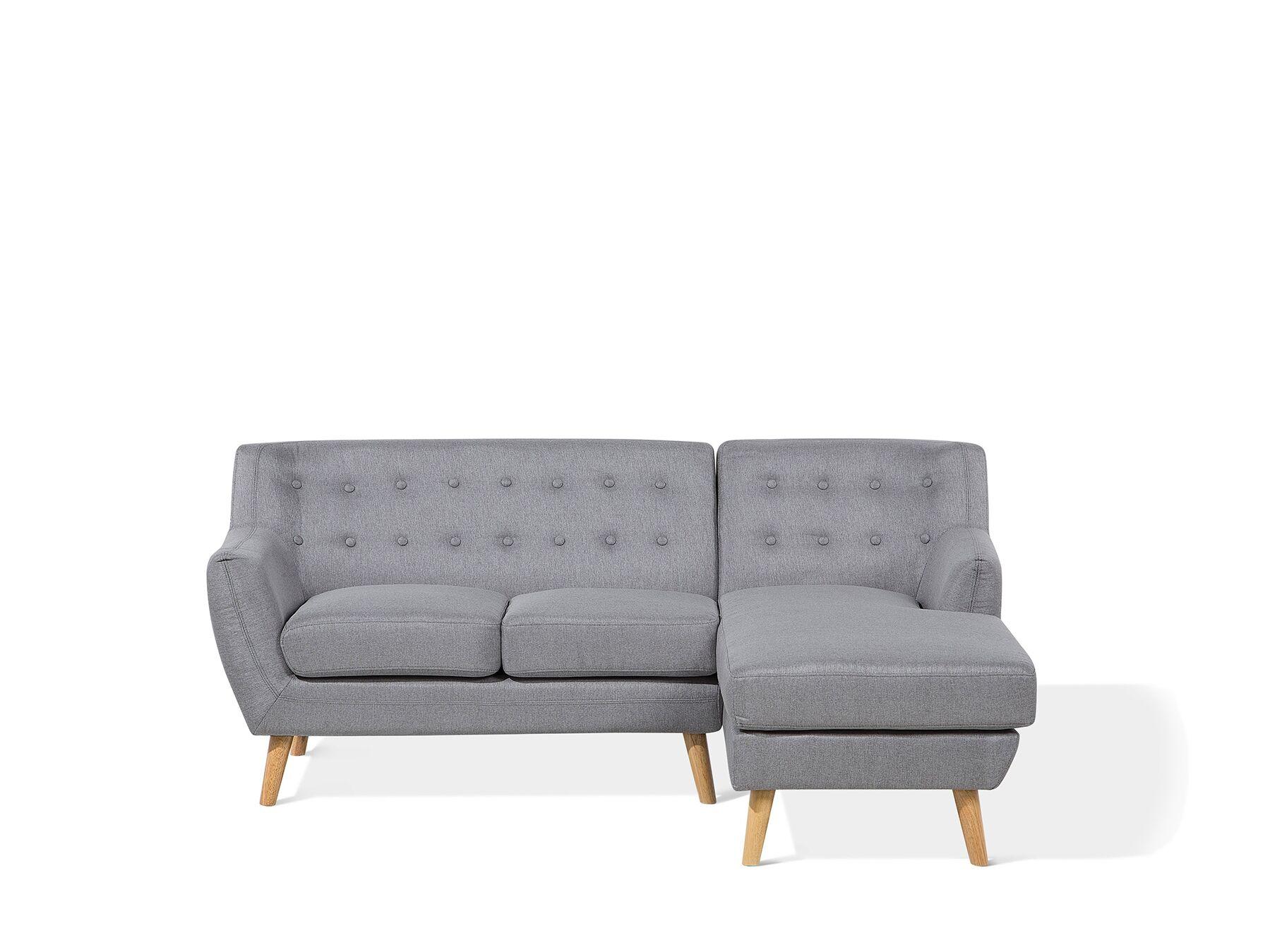 Canapé angle à gauche 3 places en tissu gris clair