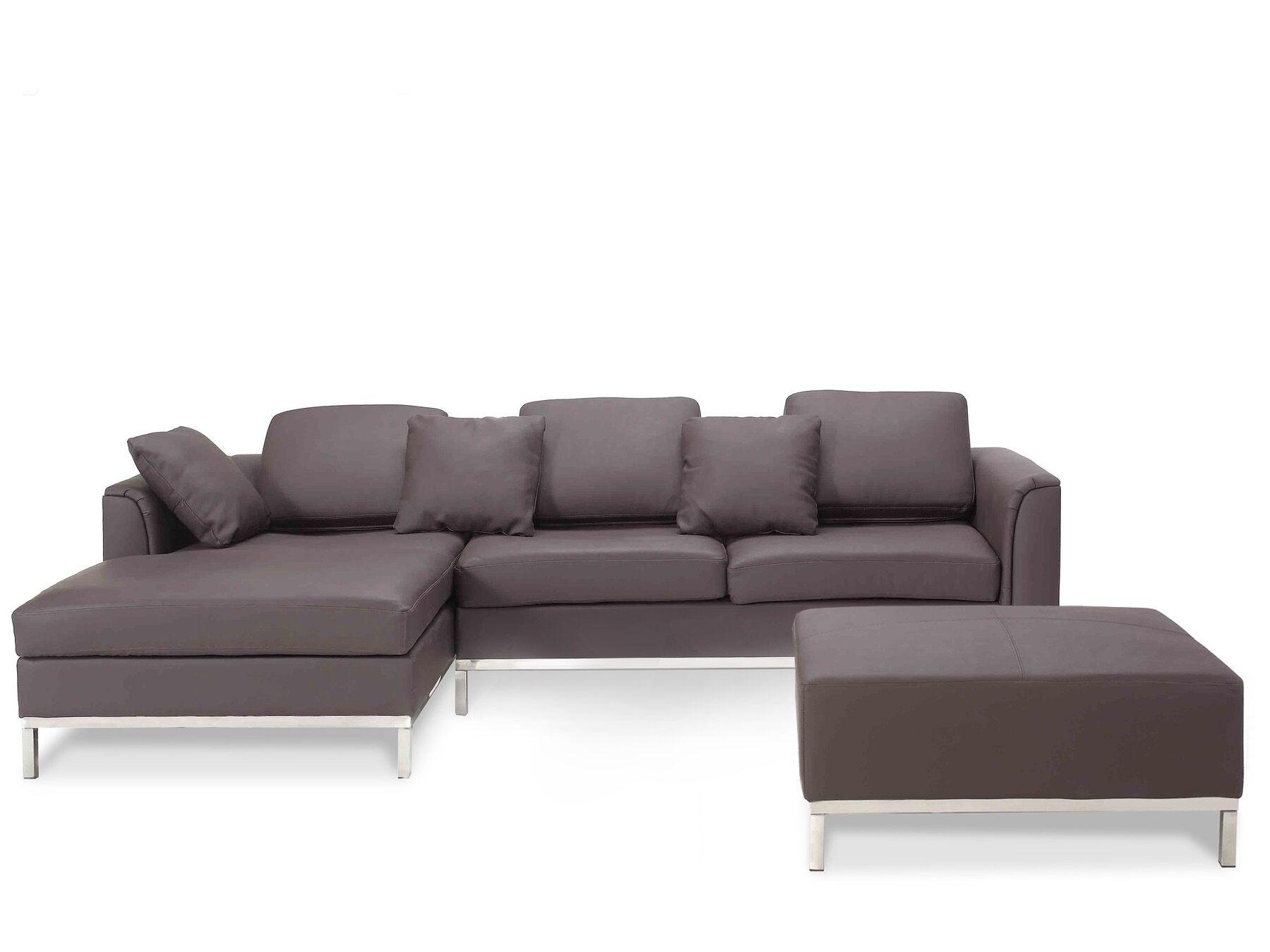 Canapé angle à droite 4 places en cuir marron avec pouf