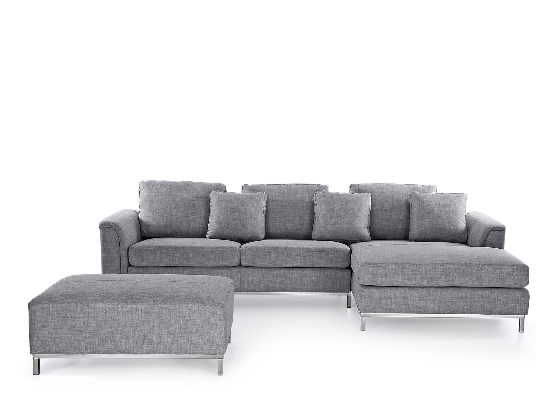Canapé angle à gauche 4 places en tissu gris clair avec pouf