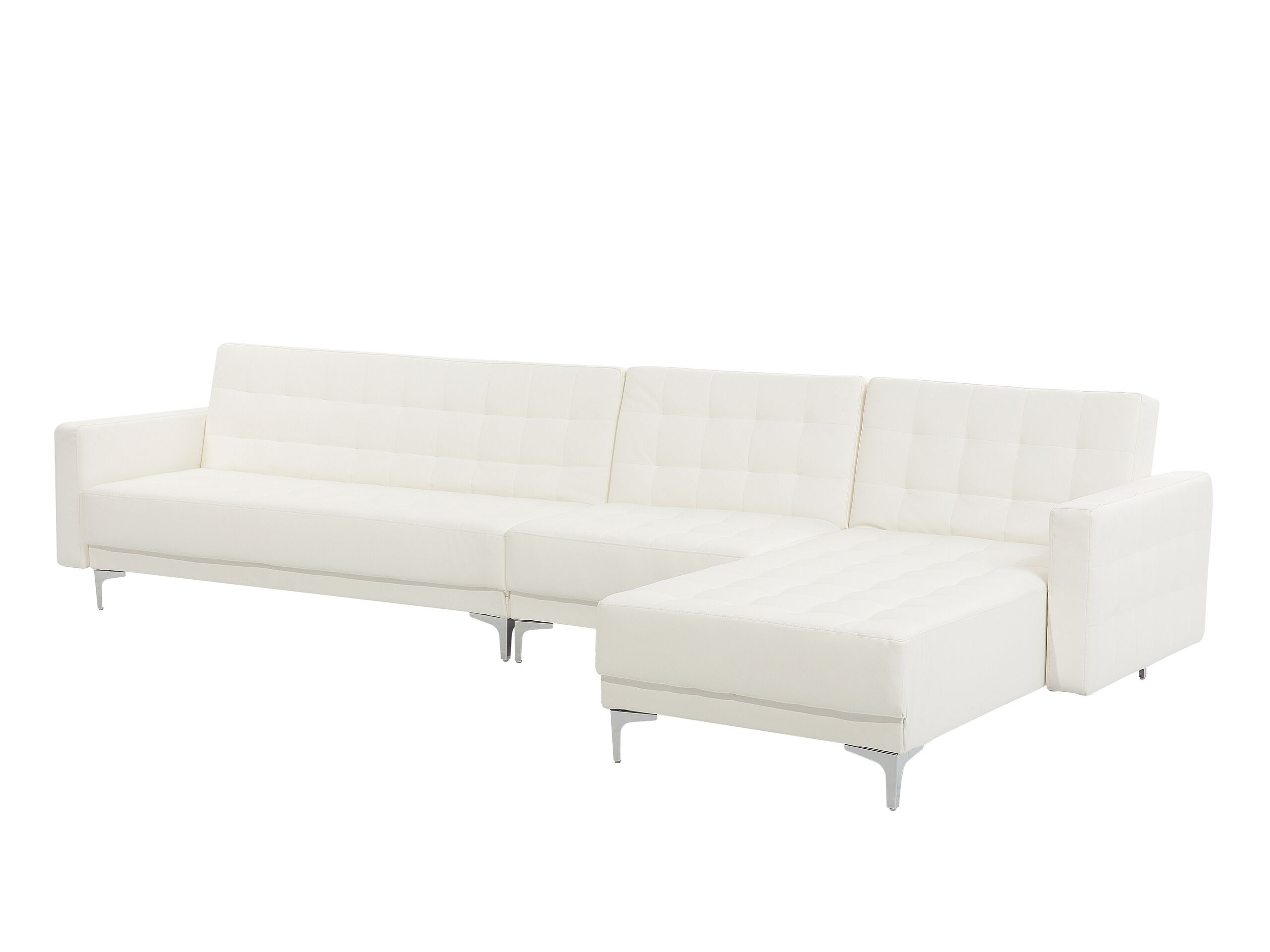 Canapé angle gauche convertible simili-cuir blanc 5 places