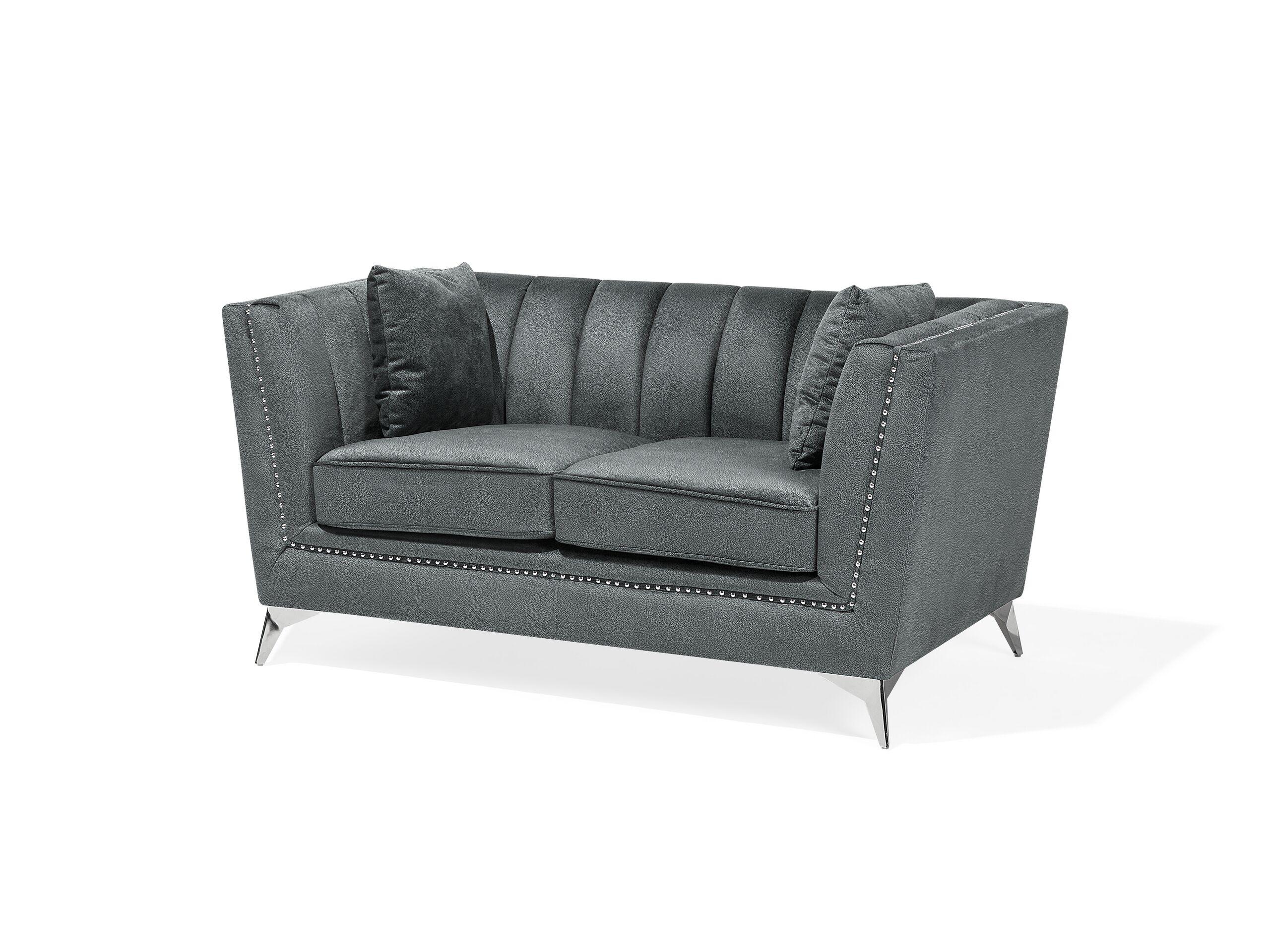 Canapé 2 places en velours gris