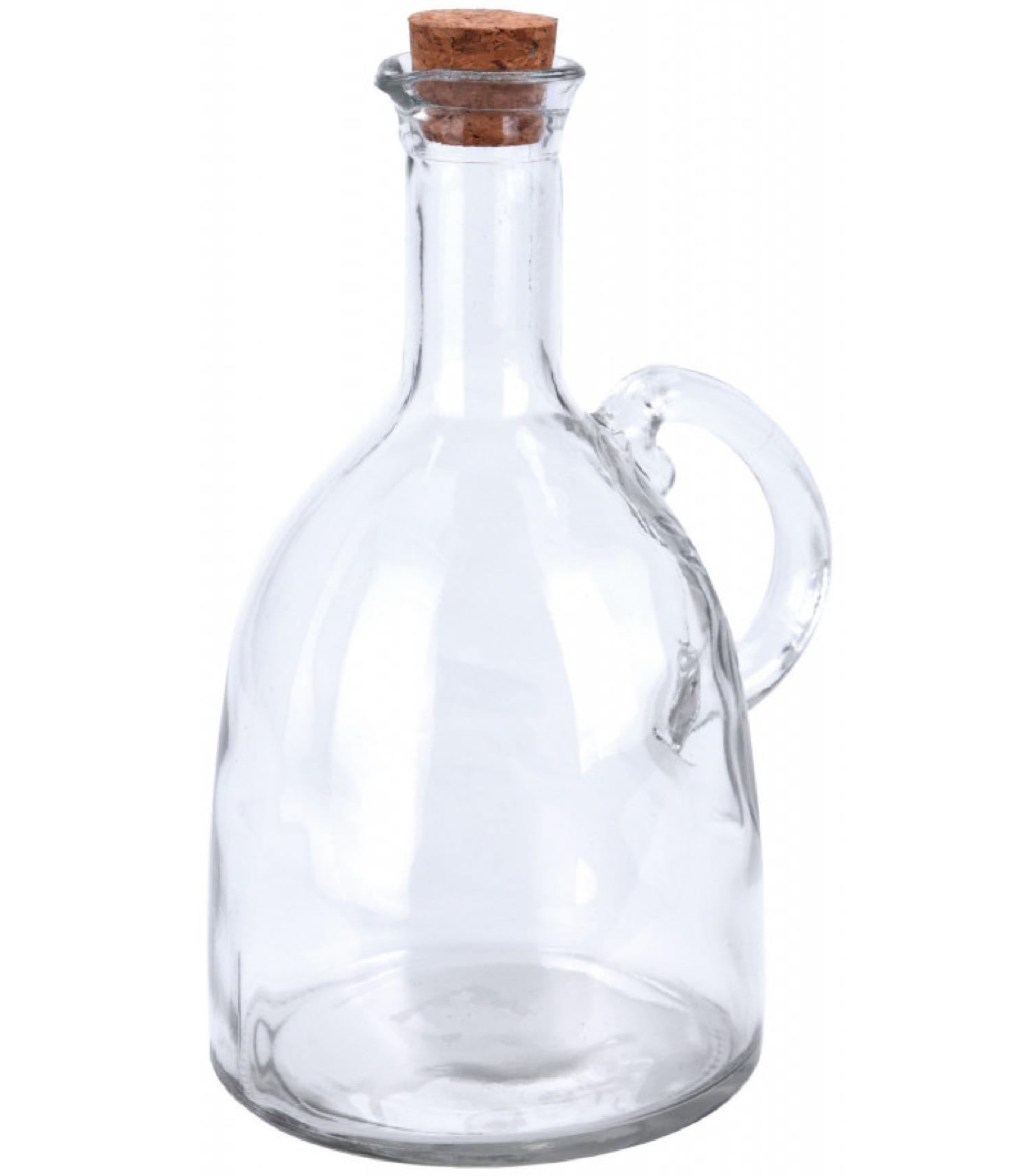 Huilier en verre transparent avec bouchon liège 500ml