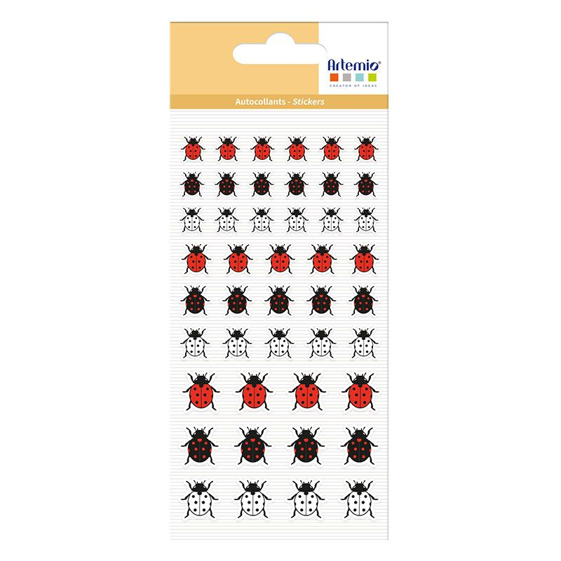 54 stickers puffies coccinelles