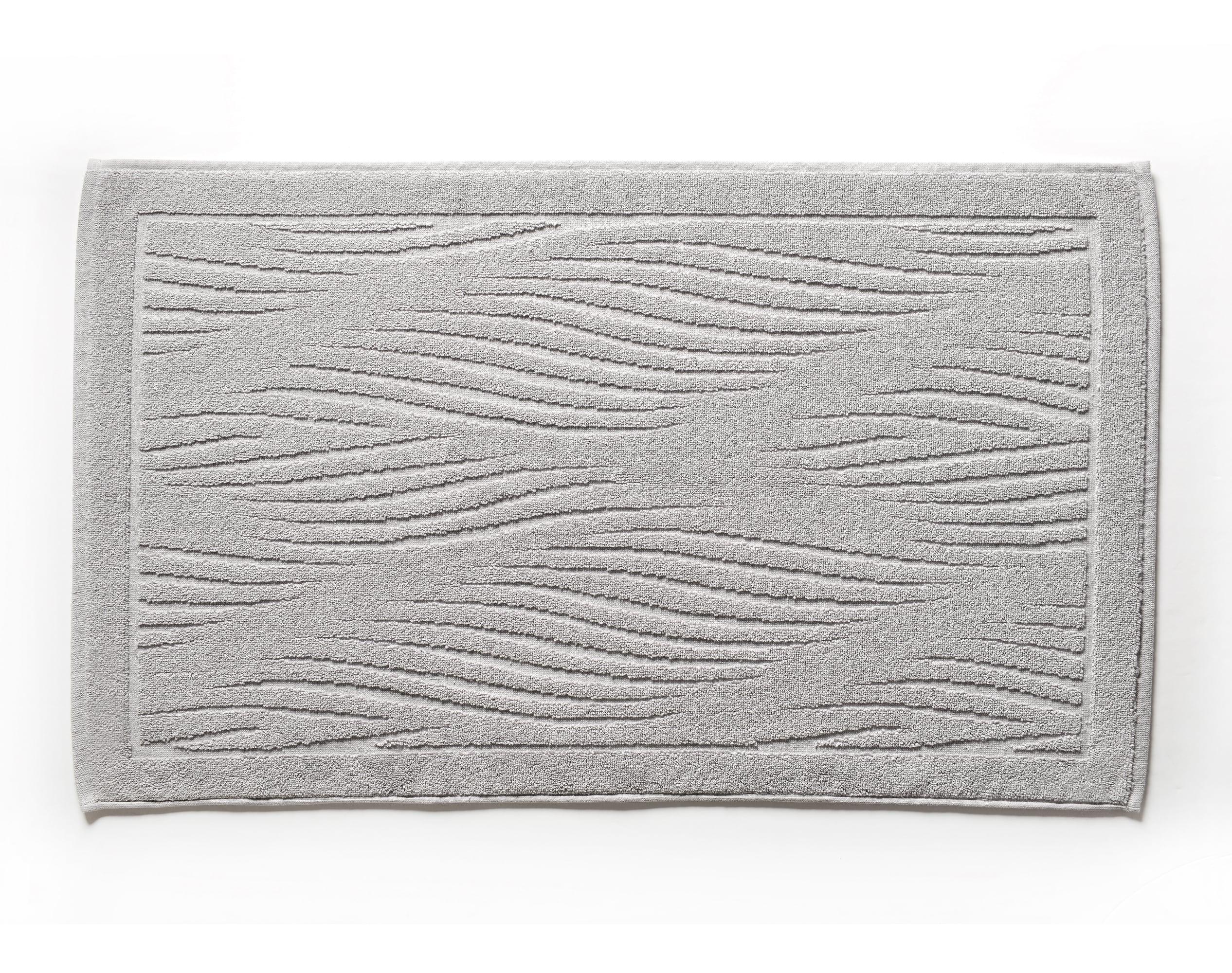 Tapis de bain gris perle 100x60 en coton