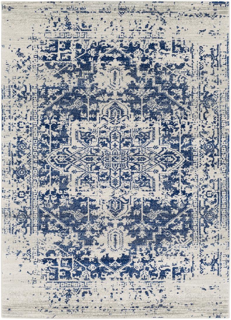 Tapis de salon classique bleu et gris 120x170