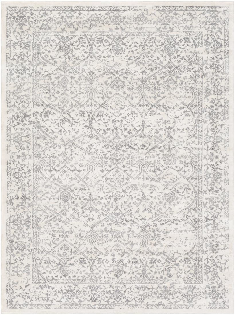 Tapis de salon classique blanc et gris 160x216