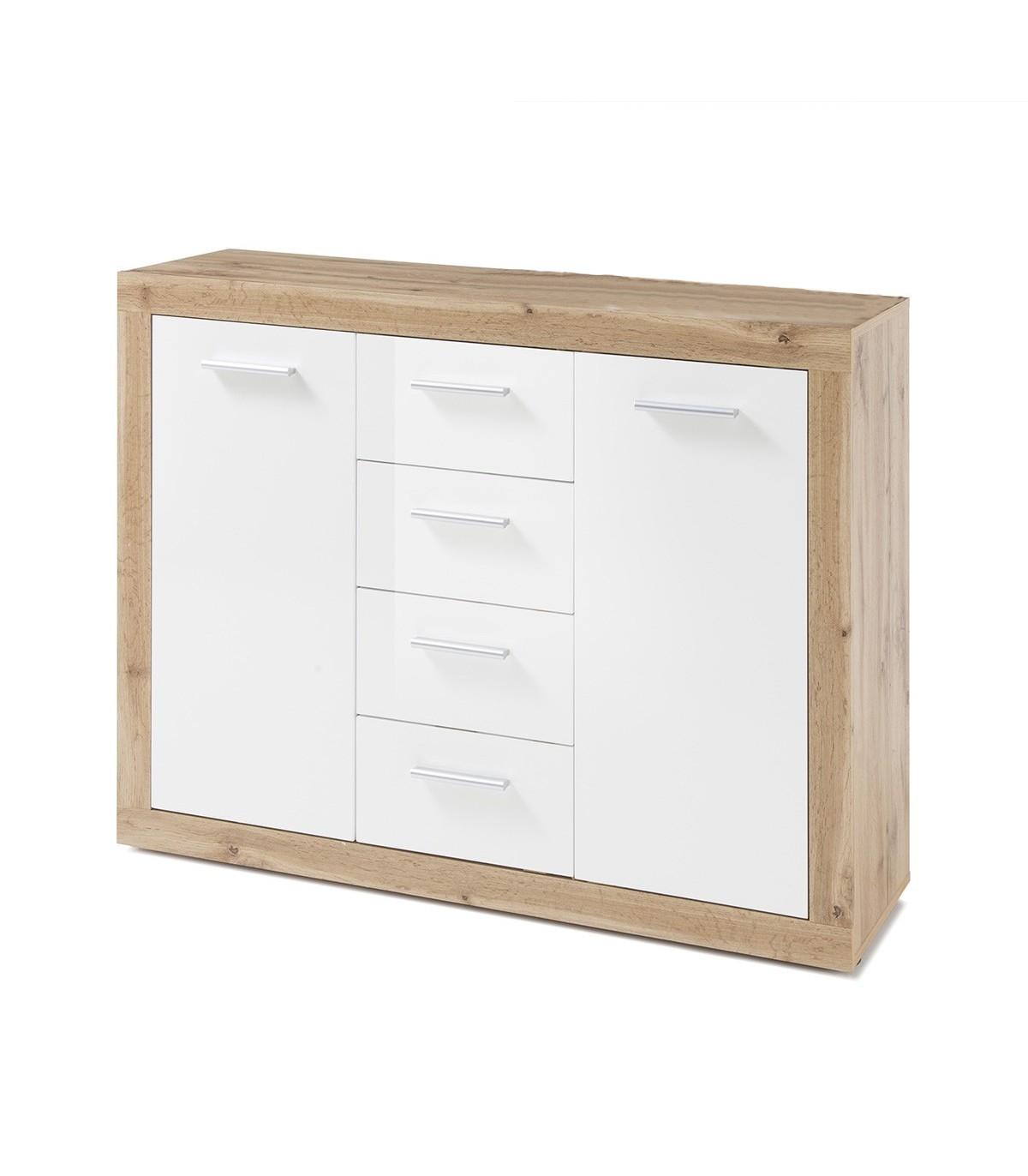 Buffet 2 portes 4 tiroirs L117cm - Marron et blanc