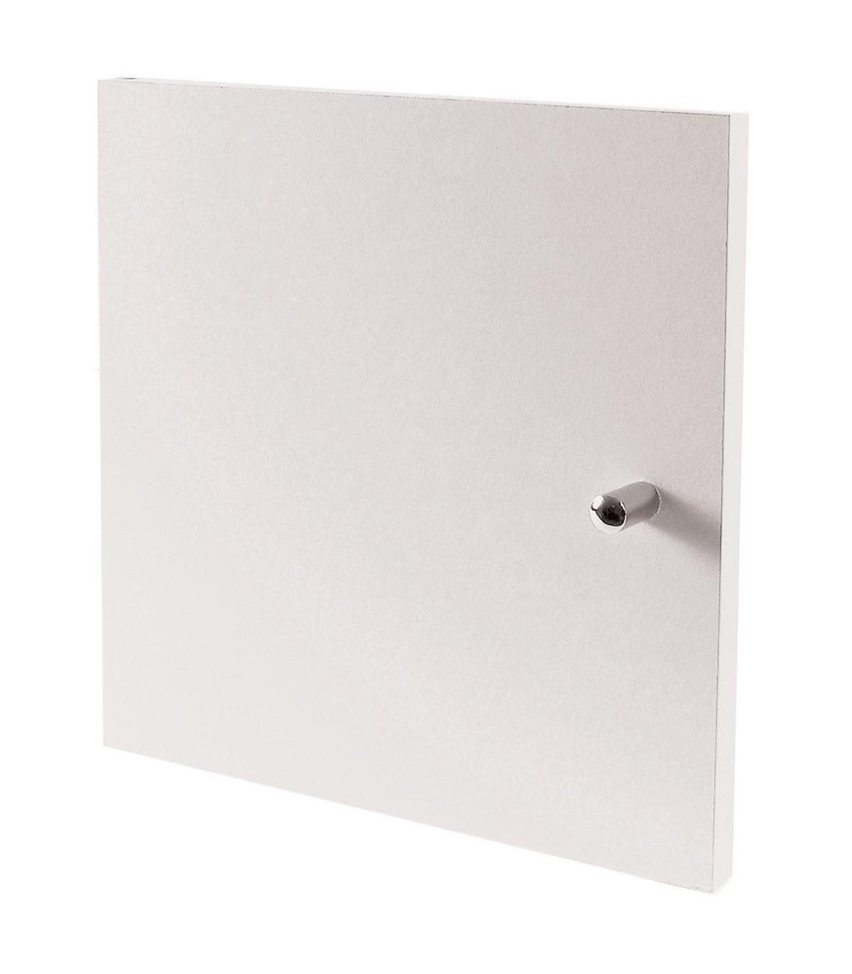 Porte pour meuble à cases bouton de porte inox - Blanc