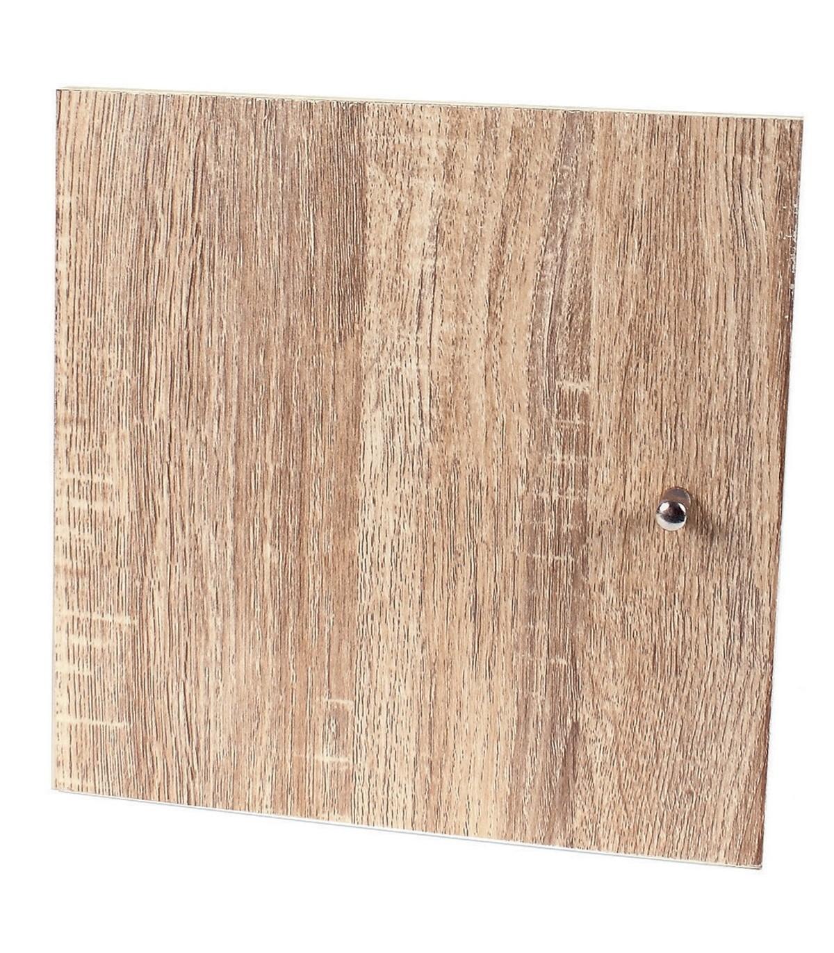 Porte pour meuble à cases bouton de porte inox - Marron