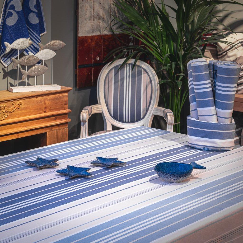 Nappe enduite 100% Coton bleu 350 x 160 cm