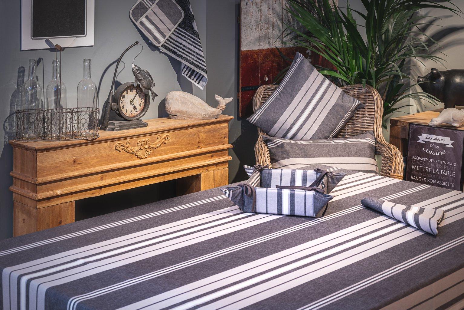 Nappe enduite 100% Coton gris 250 x 160cm