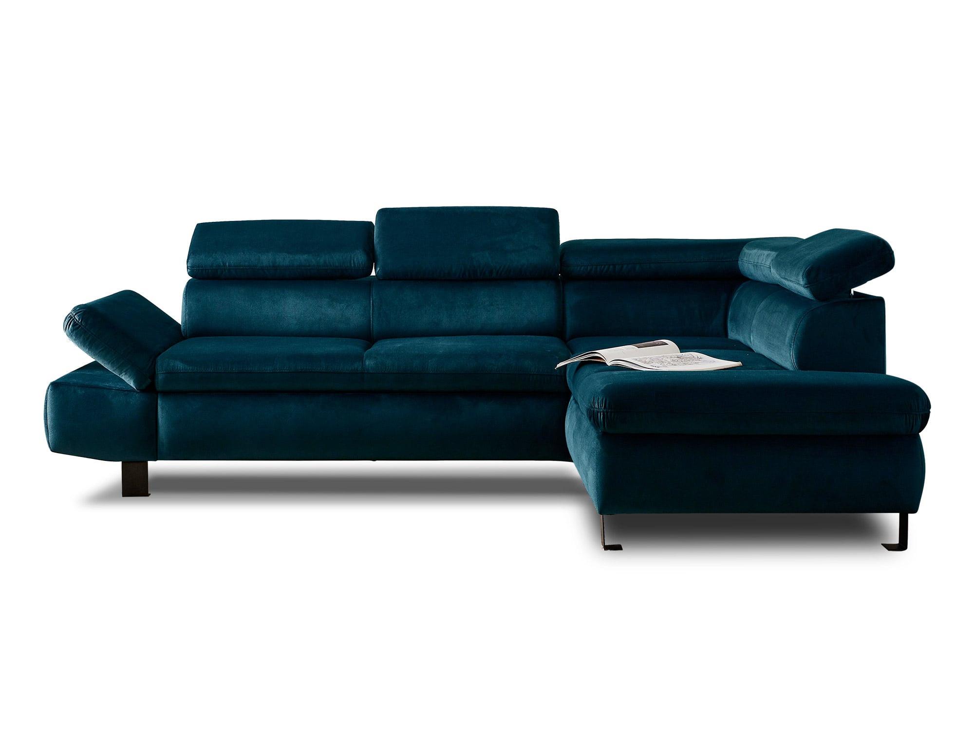 Canapé d'angle droit convertible 5 places Velours Bleu canard