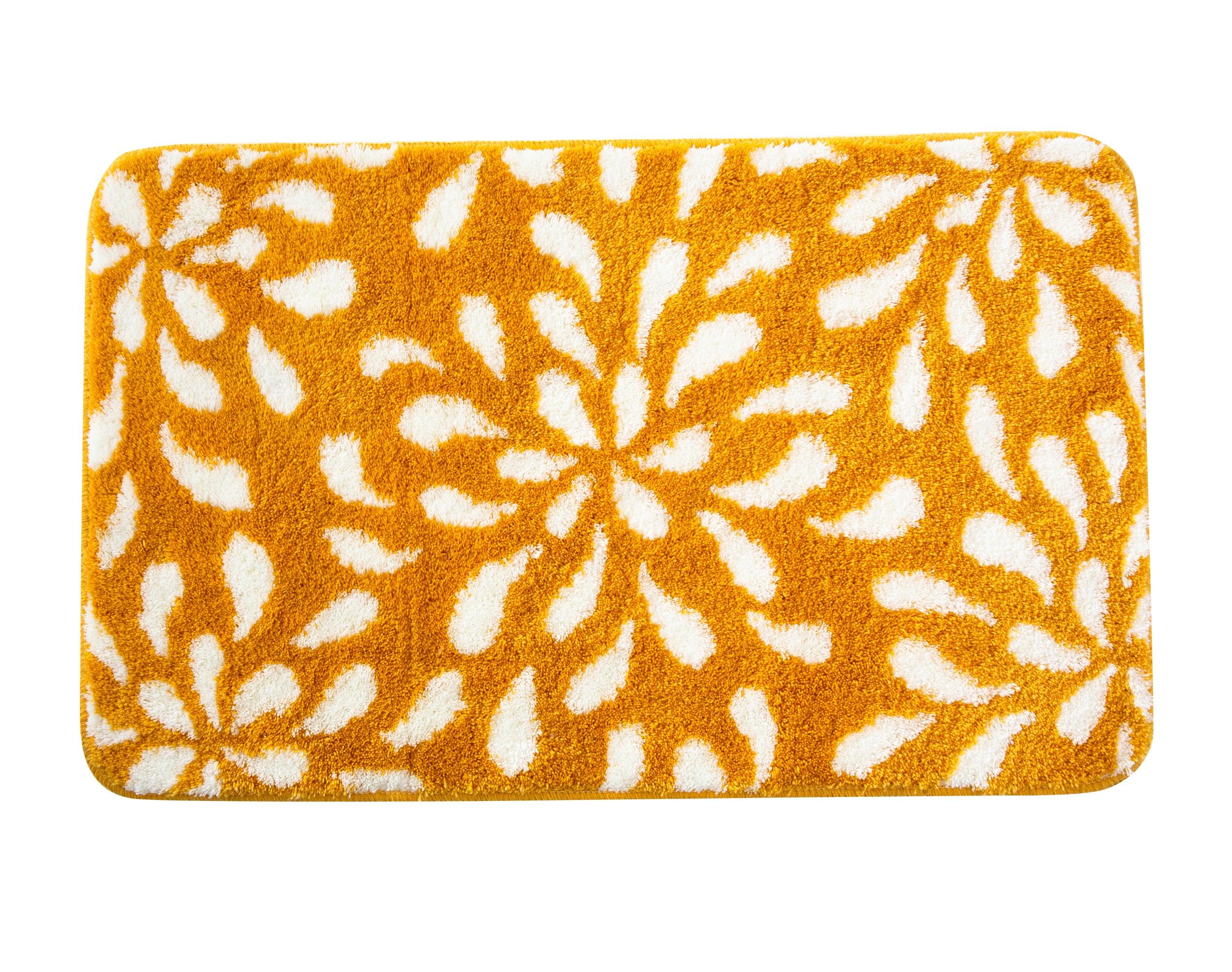 Tapis de bain jaune 100x60 en polyester