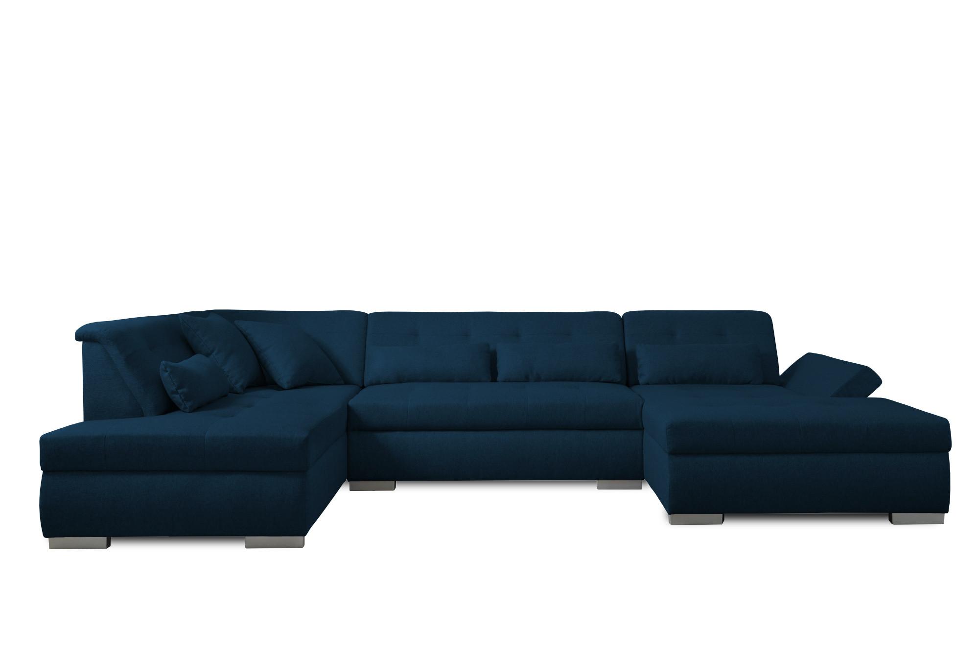 Canapé panoramique Angle gauche 7 places Tissu Bleu pétrole