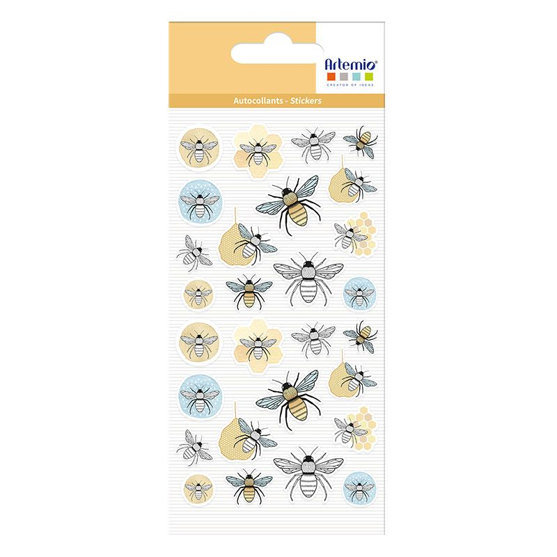 28 stickers puffies abeilles