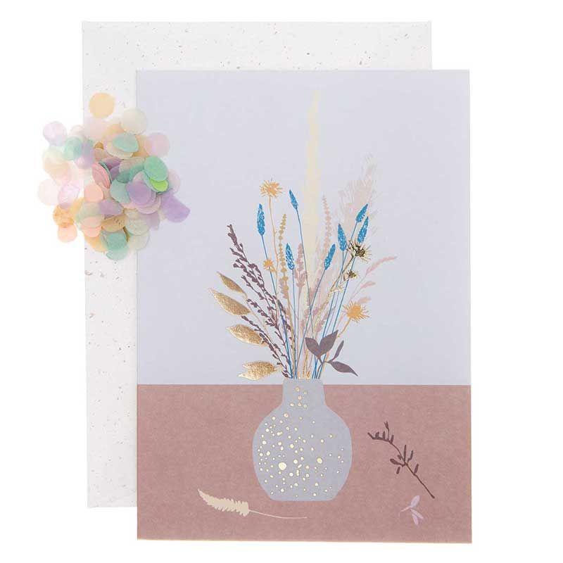 Carte florale vase et fleurs DIY à personnaliser