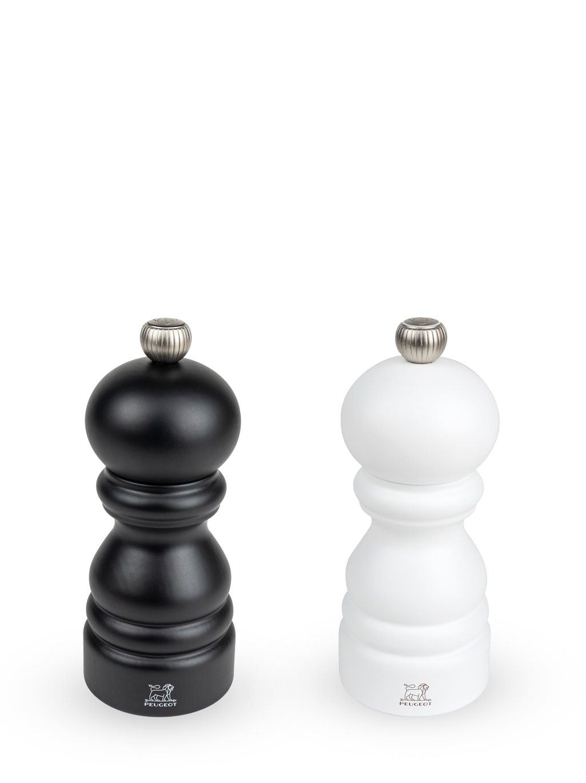 Duo de moulins poivre et sel bois noir mat et blanc mat 12cm