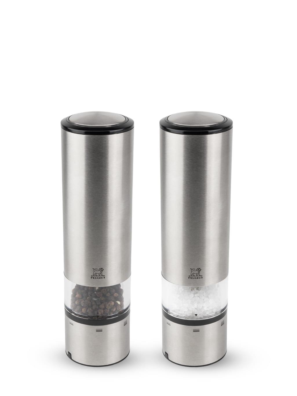 Duo de moulins poivre et sel électriques inox H20cm