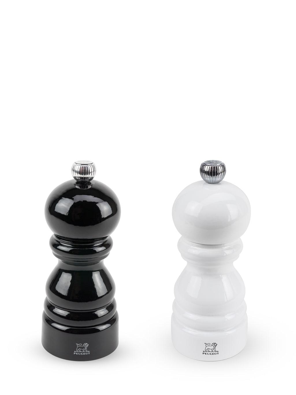 Duo de moulins poivre et sel bois laqué noir et laqué blanc 12cm