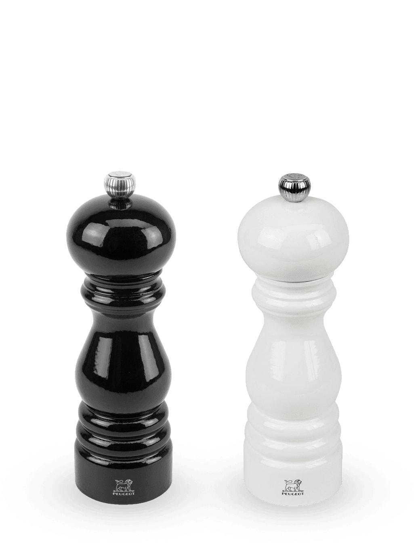 Duo moulins à poivre et à sel bois laqué noir et blanc H18cm
