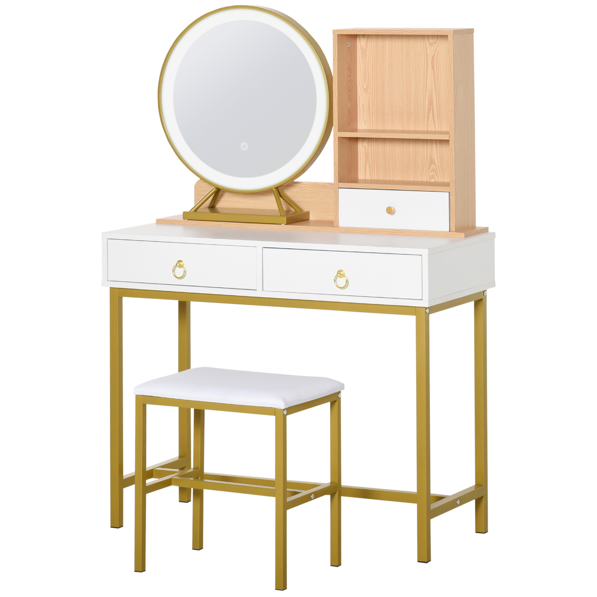 Coiffeuse design art déco avec tabouret et miroir LED