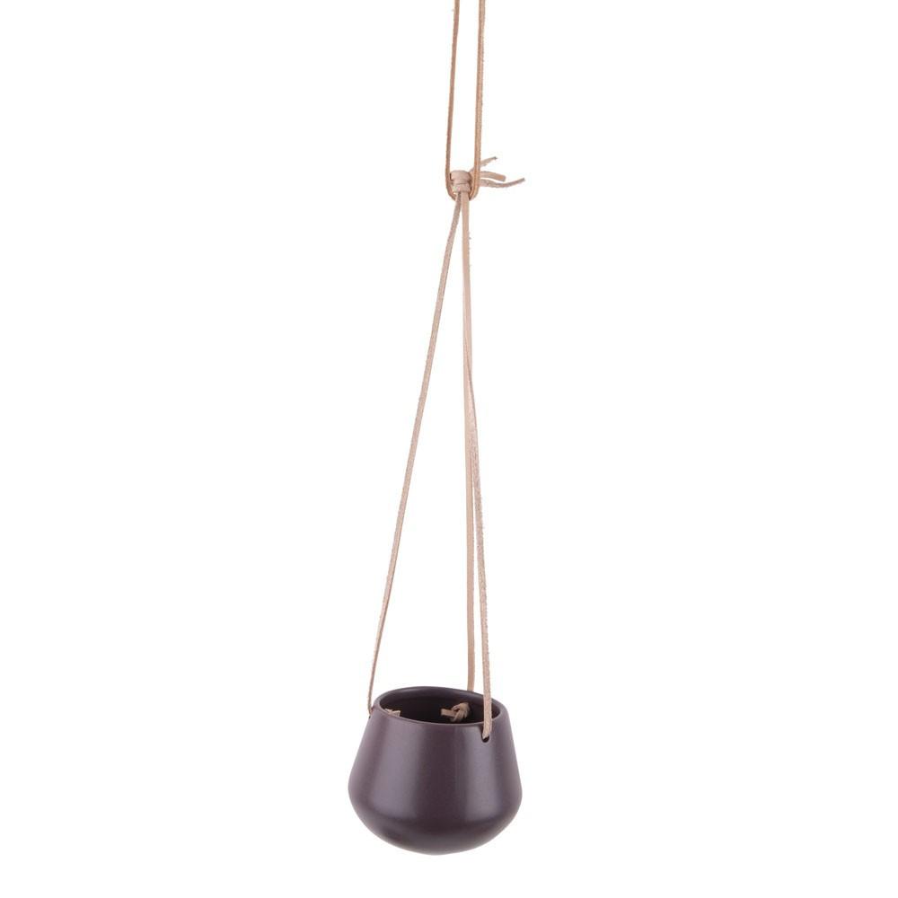 Vase à suspendre en céramique violette