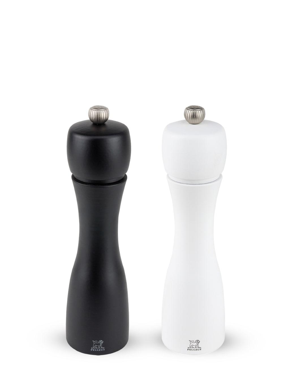 Duo de moulins poivre et sel bois noir mat et blanc mat H20cm