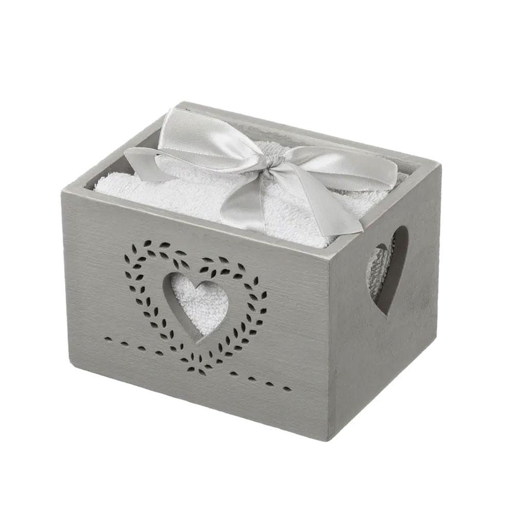 4 serviettes d'invité coeur en coffret cadeau